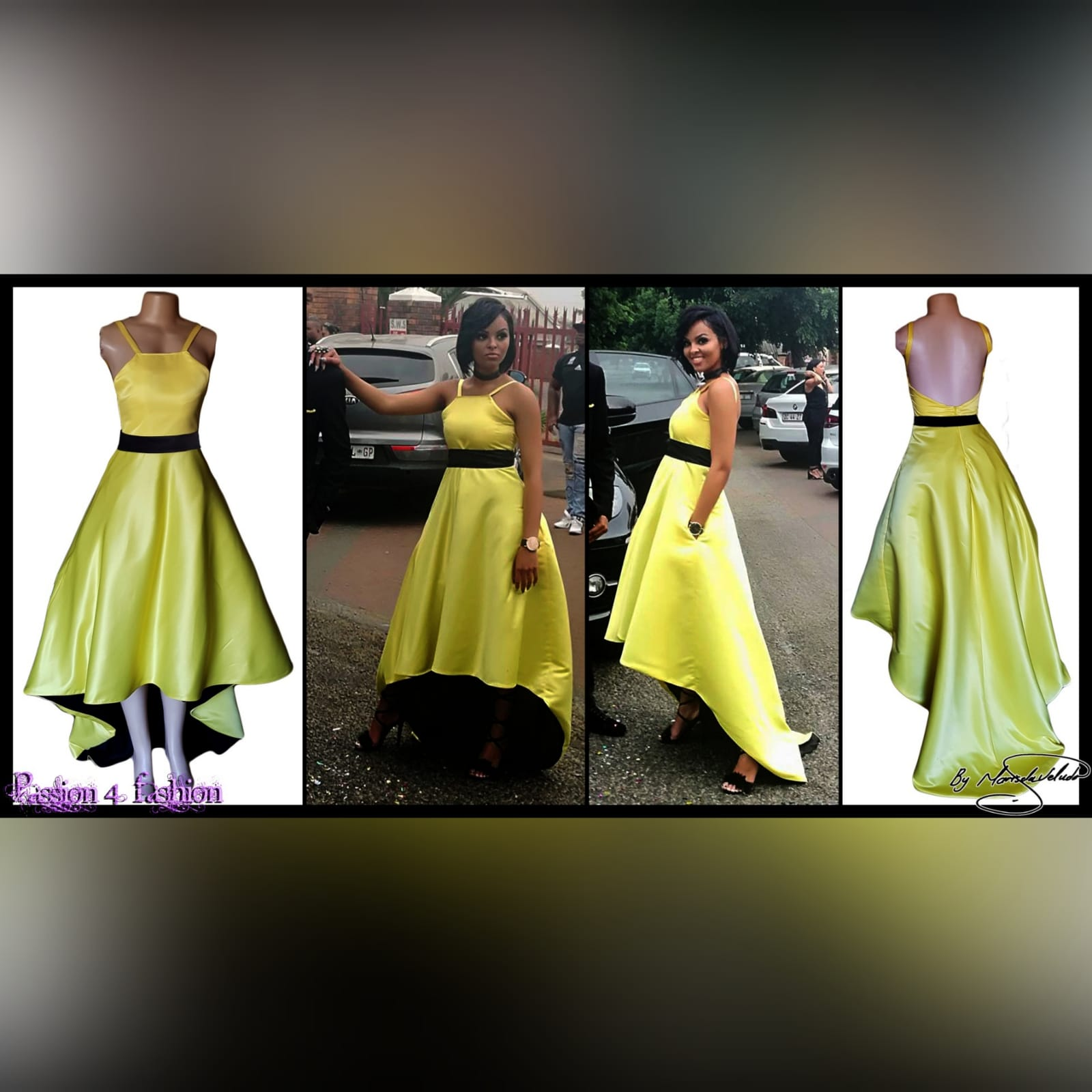 Yellow and black high low prom dress 5 yellow & black high low prom dress with an open back, pockets and a detachable black belt
