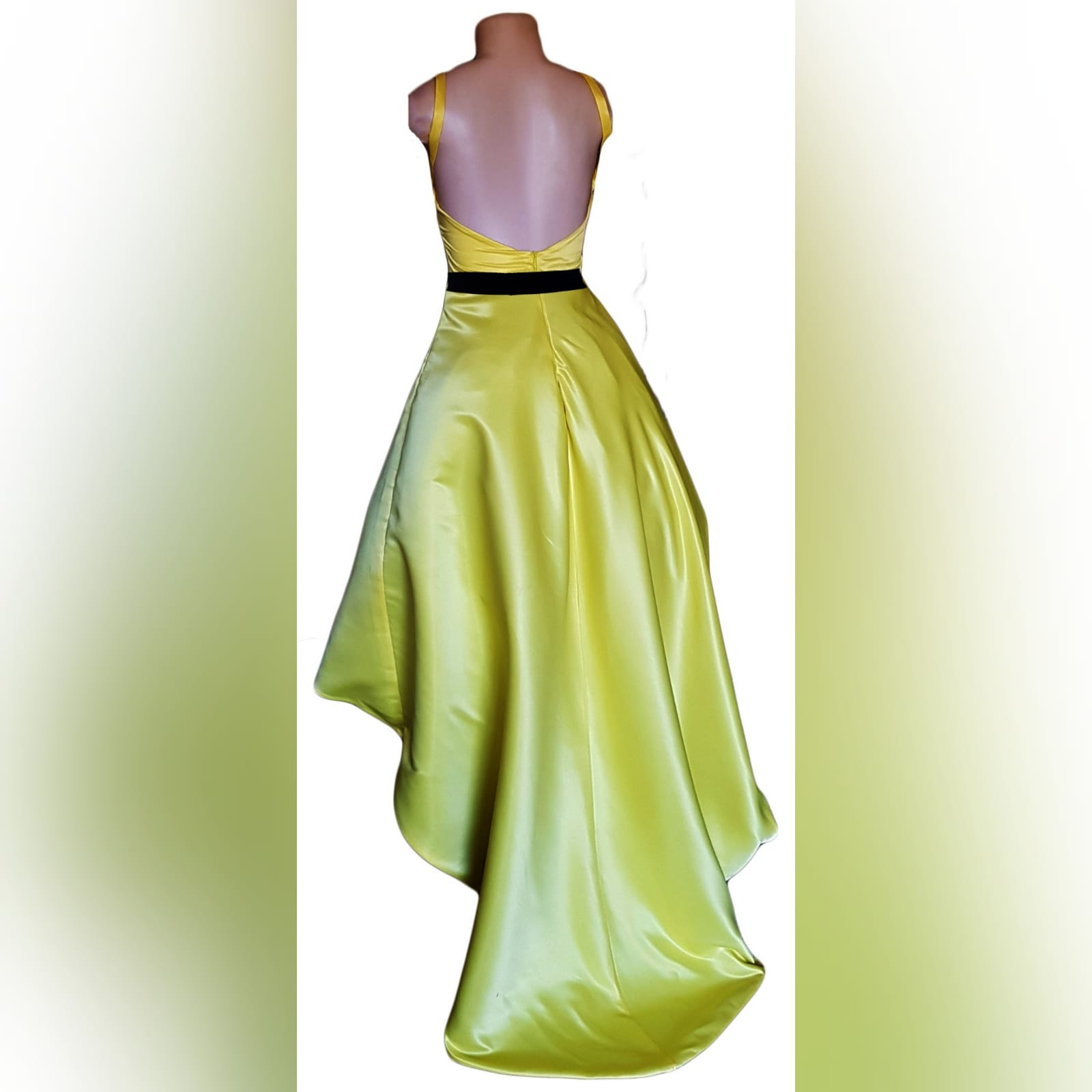 Yellow and black high low prom dress 6 yellow & black high low prom dress with an open back, pockets and a detachable black belt