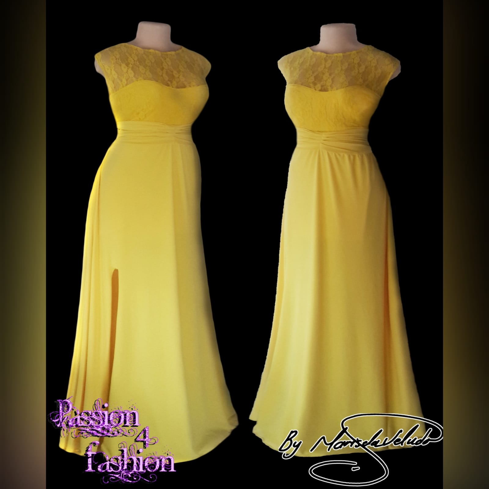 Yellow long evening dress with a lace bodice 2 yellow long evening dress with a lace bodice, rouged belt and a slit. Flowy.