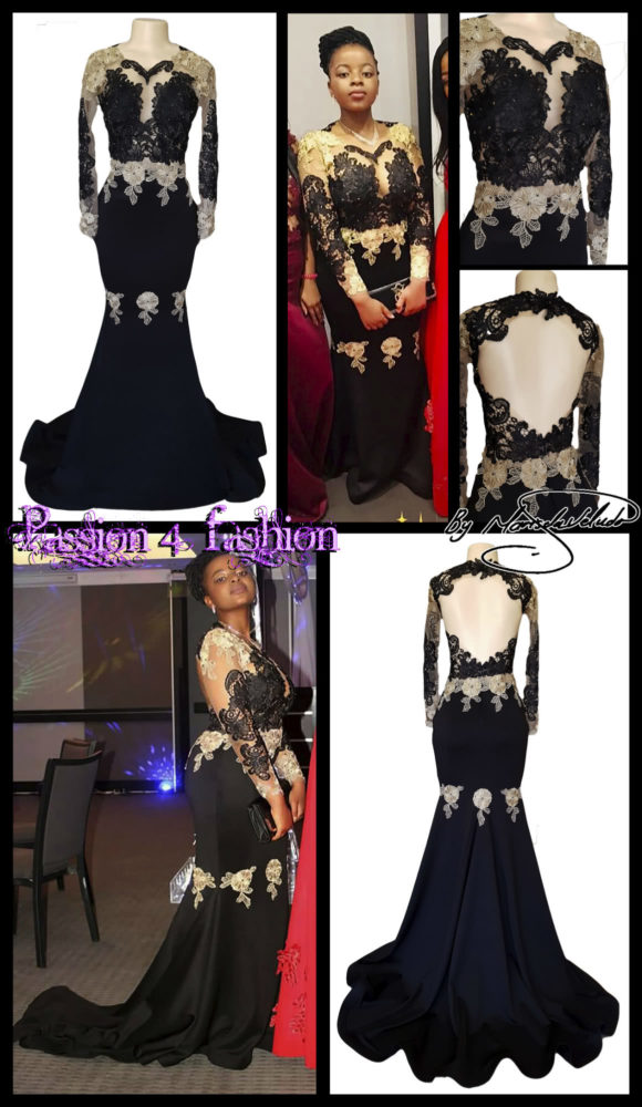 Black & gold soft mermaid matric farewell dress with an illusion lace bodice and long sleeves. With an open back and a train. Lace detailed with beads.