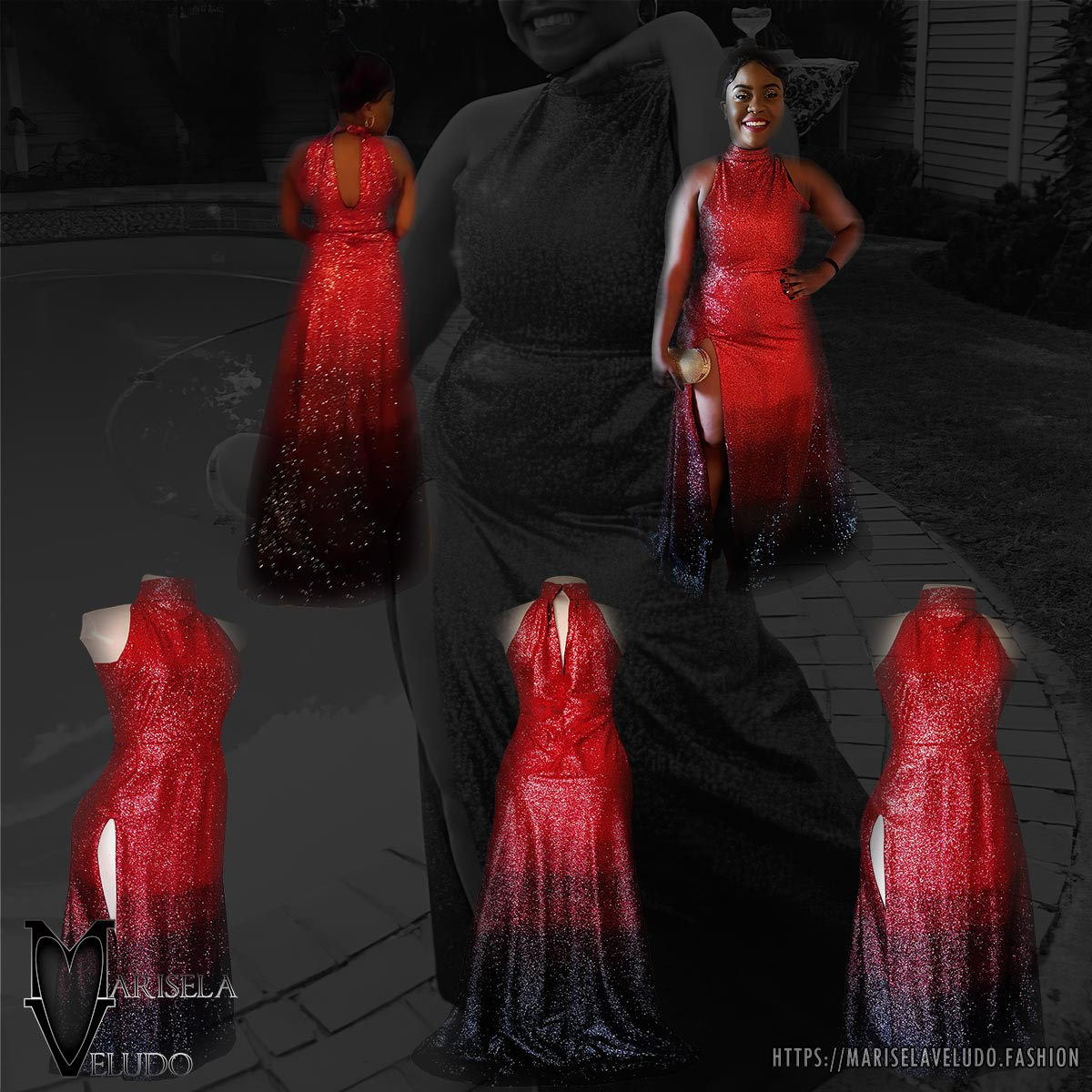 Glittered red and black ombre evening dress 12 want to be the shine at your prom gala? Wear a stunning fully glitter red and black ombre evening dress. With a high slit for a touch of sexy to your radical look.