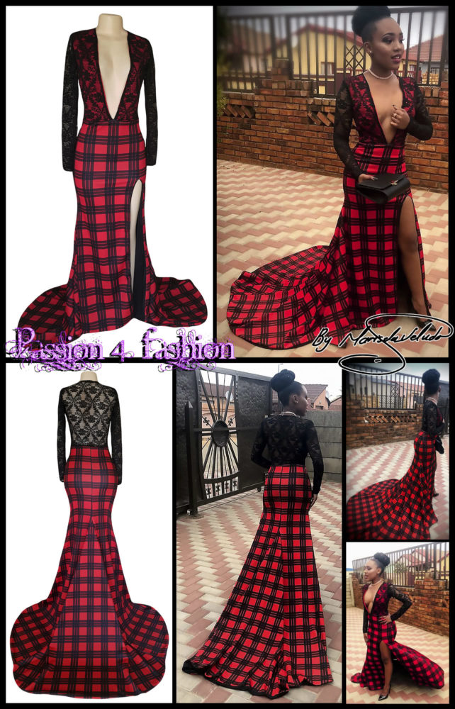 Red and black tartan and lace prom dress with a high slit and a train