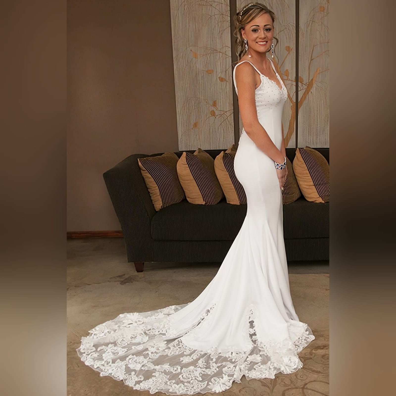 Stunning white soft mermaid lace wedding dress 11 a stunning white soft mermaid lace wedding dress designed and made per measurement sent to my client in south africa. An absolute romantic and elegant design that made her day more special and memorable. Wedding dress with a beaded bust. Sheer lace back and a long lace train to add a dramatic touch to this dress