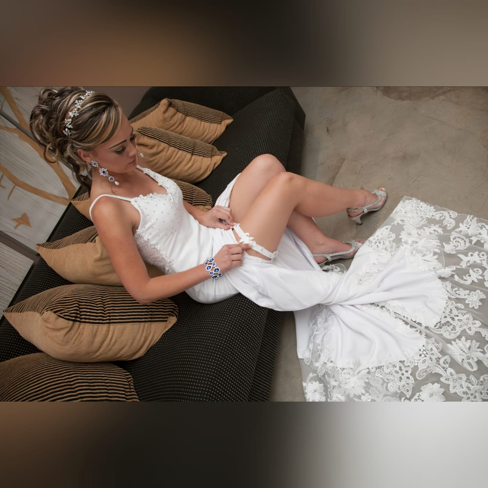 Stunning white soft mermaid lace wedding dress 8 a stunning white soft mermaid lace wedding dress designed and made per measurement sent to my client in south africa. An absolute romantic and elegant design that made her day more special and memorable. Wedding dress with a beaded bust. Sheer lace back and a long lace train to add a dramatic touch to this dress