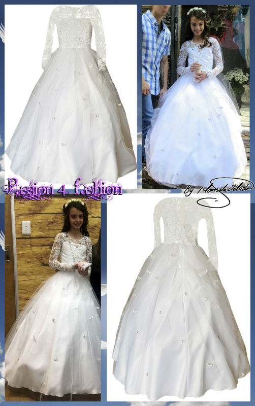 White holy communion ball gown dress. With a lace bodice. Long lace sleeves. Holy communion dress detailed with butterflies.