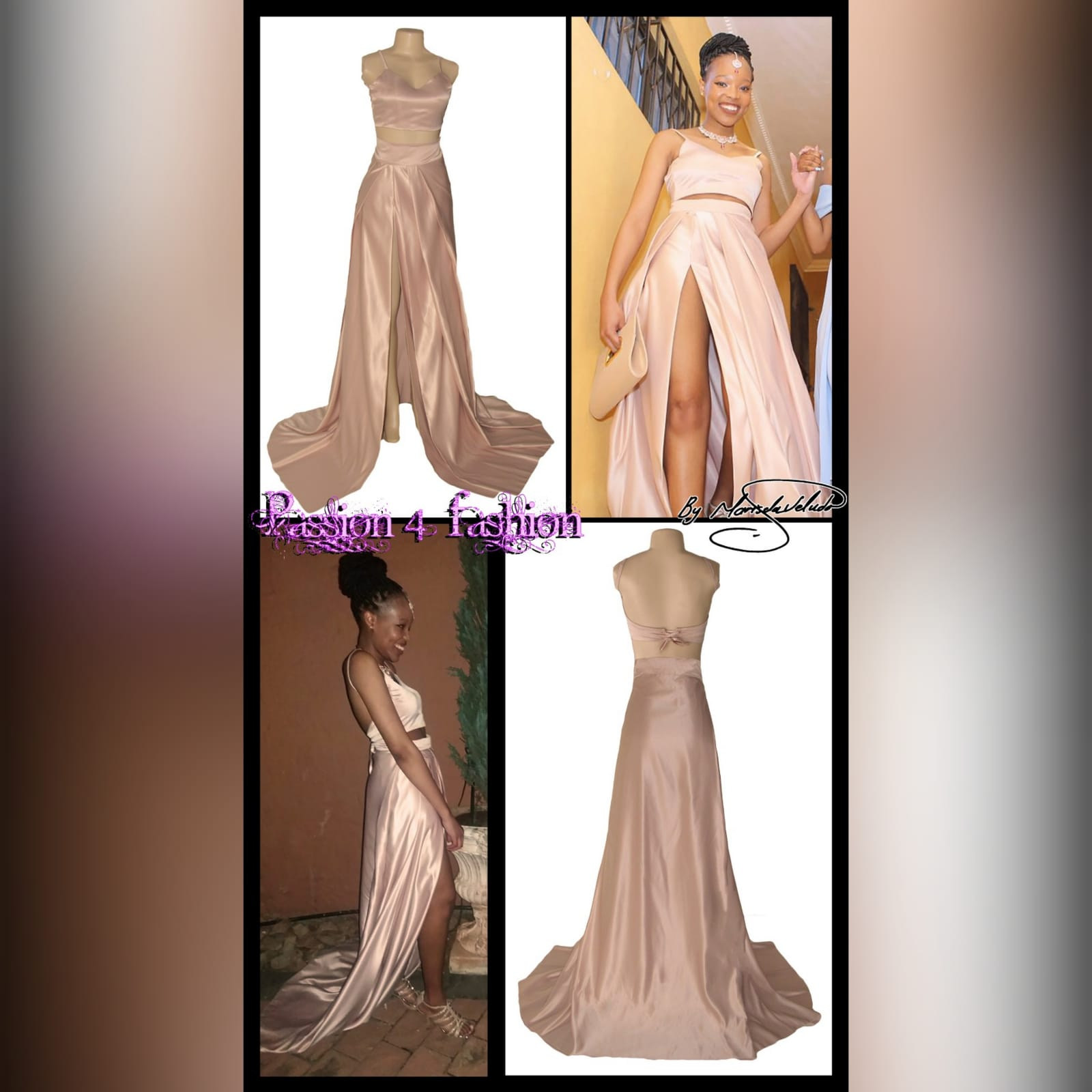 2 piece rose gold satin prom dress 6 2 piece rose gold satin prom dress, with a crop top, thin shoulder straps and a lace-up back. Pleated skirt with a high slit and a train.