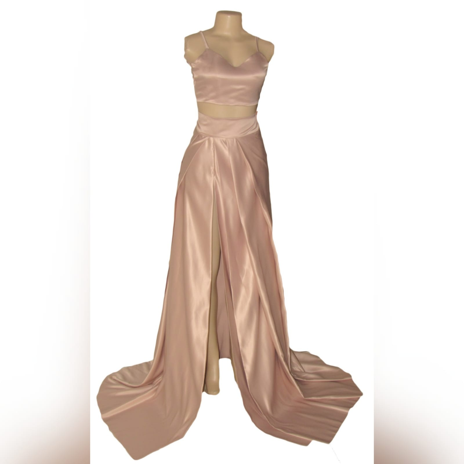 2 piece rose gold satin prom dress 4 2 piece rose gold satin prom dress, with a crop top, thin shoulder straps and a lace-up back. Pleated skirt with a high slit and a train.
