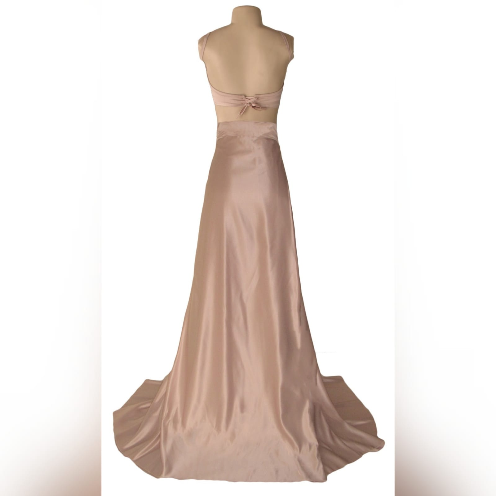 2 piece rose gold satin prom dress 5 2 piece rose gold satin prom dress, with a crop top, thin shoulder straps and a lace-up back. Pleated skirt with a high slit and a train.