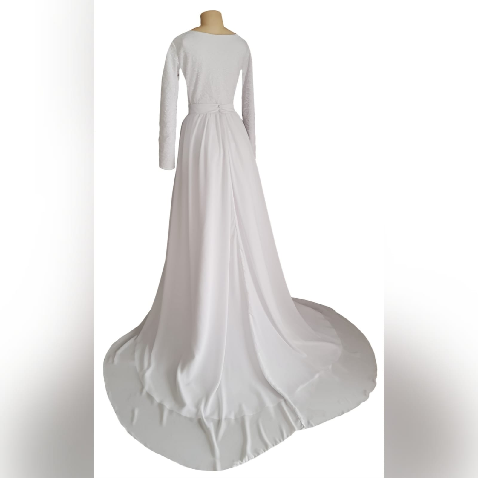 2 piece white flowy simple wedding dress 4 2 piece white flowy simple wedding dress. A bodysuit fitted lace top with long sleeves and jewel neckline. Flowy wide long skirt with a chiffon layer and a long train.