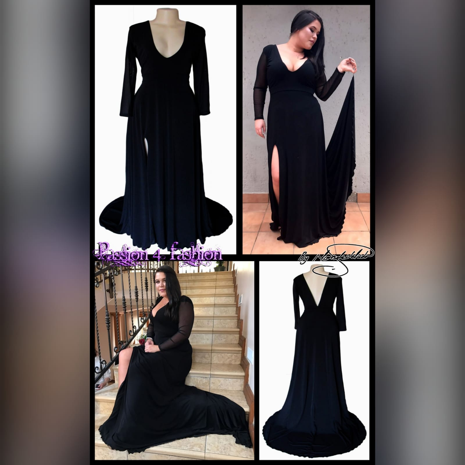 Black simple long formal dress 5 black simple long prom dress with a front and back v neckline. With translucent long sleeves. Slit and a train.