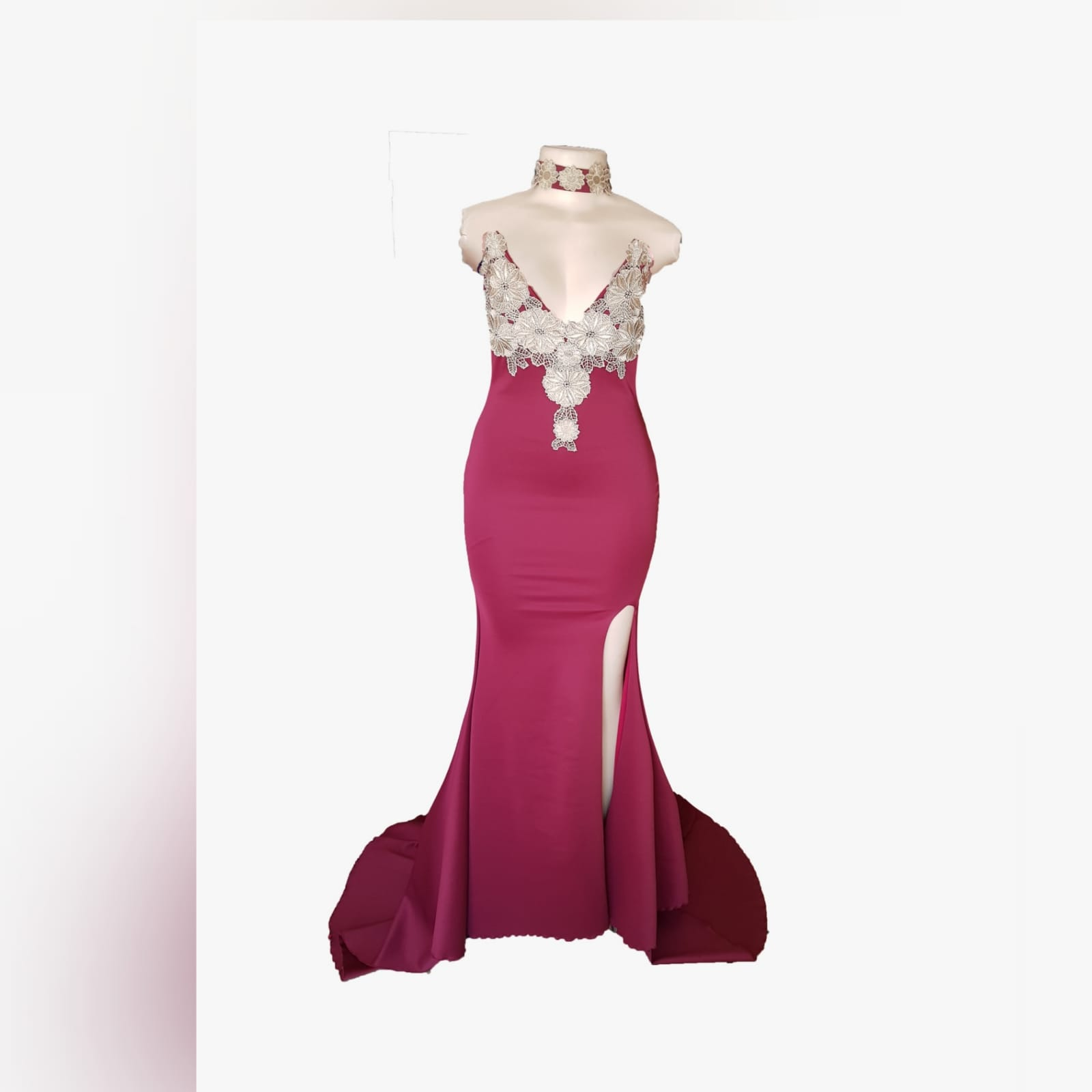 Burgundy and gold soft mermaid gala dress 4 burgundy and gold soft mermaid gala dress for a formal function. Boobtube with a v neckline, high slit and a train. Bodice detailed with gold shimmer lace. With a matching choker.