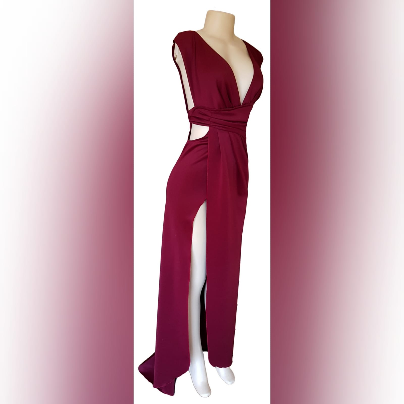 Burgundy draped long prom dress 5 burgundy draped long prom dress with a plunging neckline, sides open, crossed slit and a little train.
