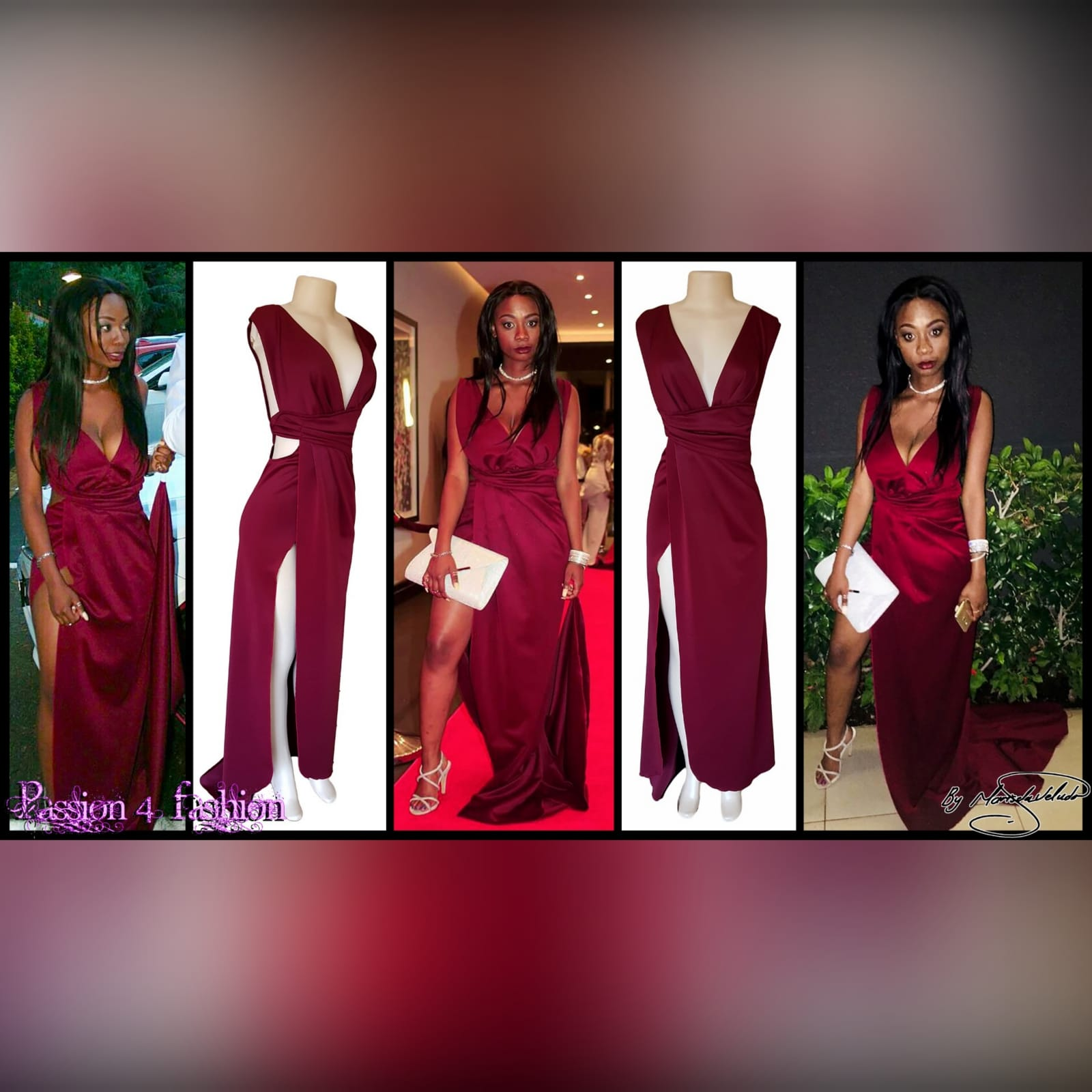 Burgundy draped long prom dress 6 burgundy draped long prom dress with a plunging neckline, sides open, crossed slit and a little train.
