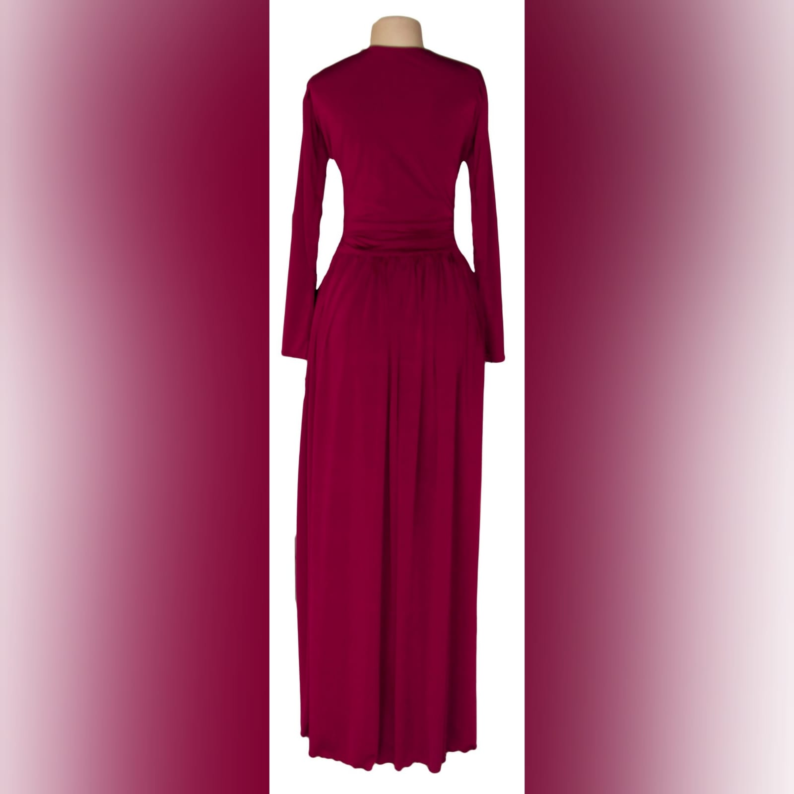 Burgundy simple long prom dress 5 burgundy simple long prom dress with a v neckline, long fitted sleeves, flowy gathered bottom with a slit and a little train.