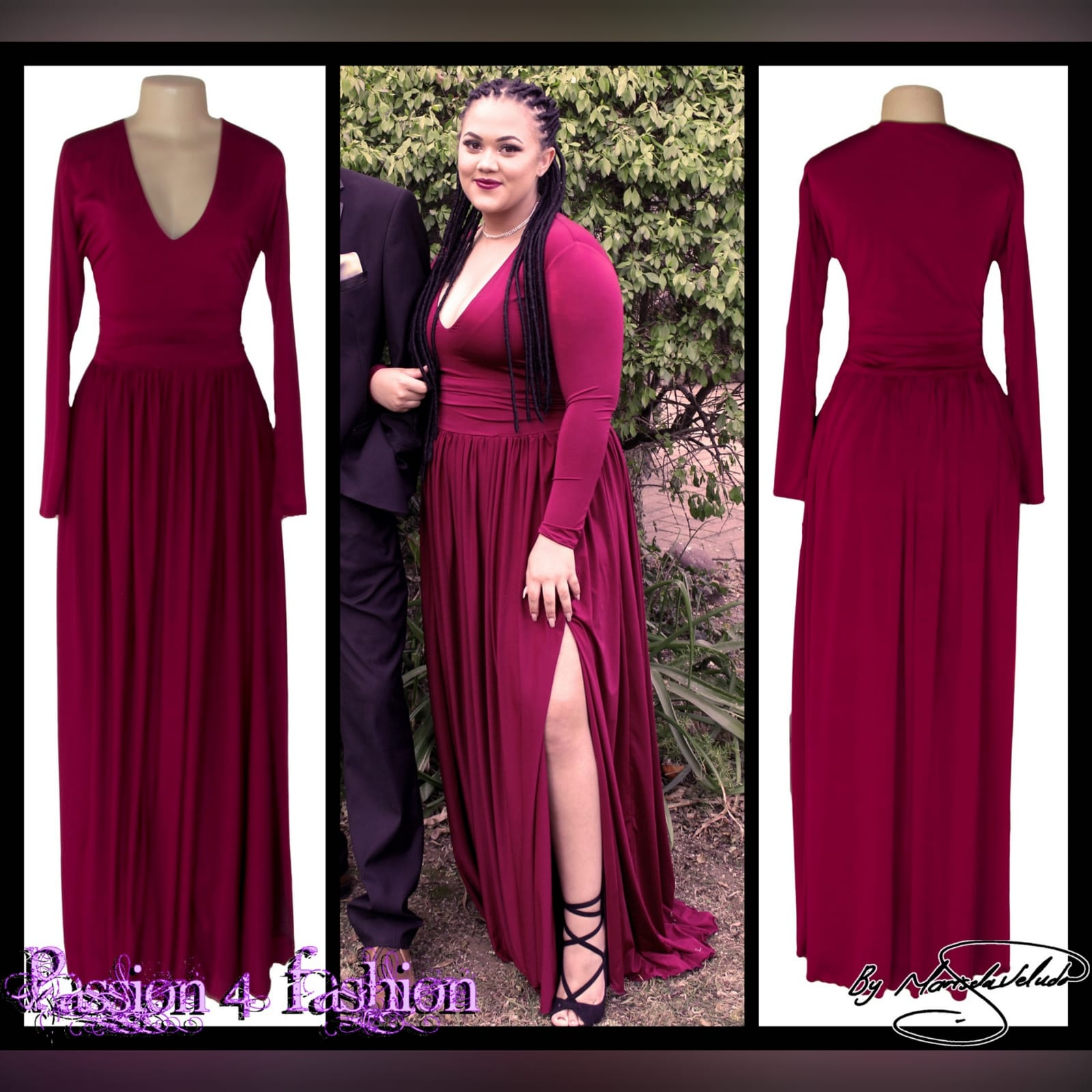 Burgundy simple long prom dress 4 burgundy simple long prom dress with a v neckline, long fitted sleeves, flowy gathered bottom with a slit and a little train.