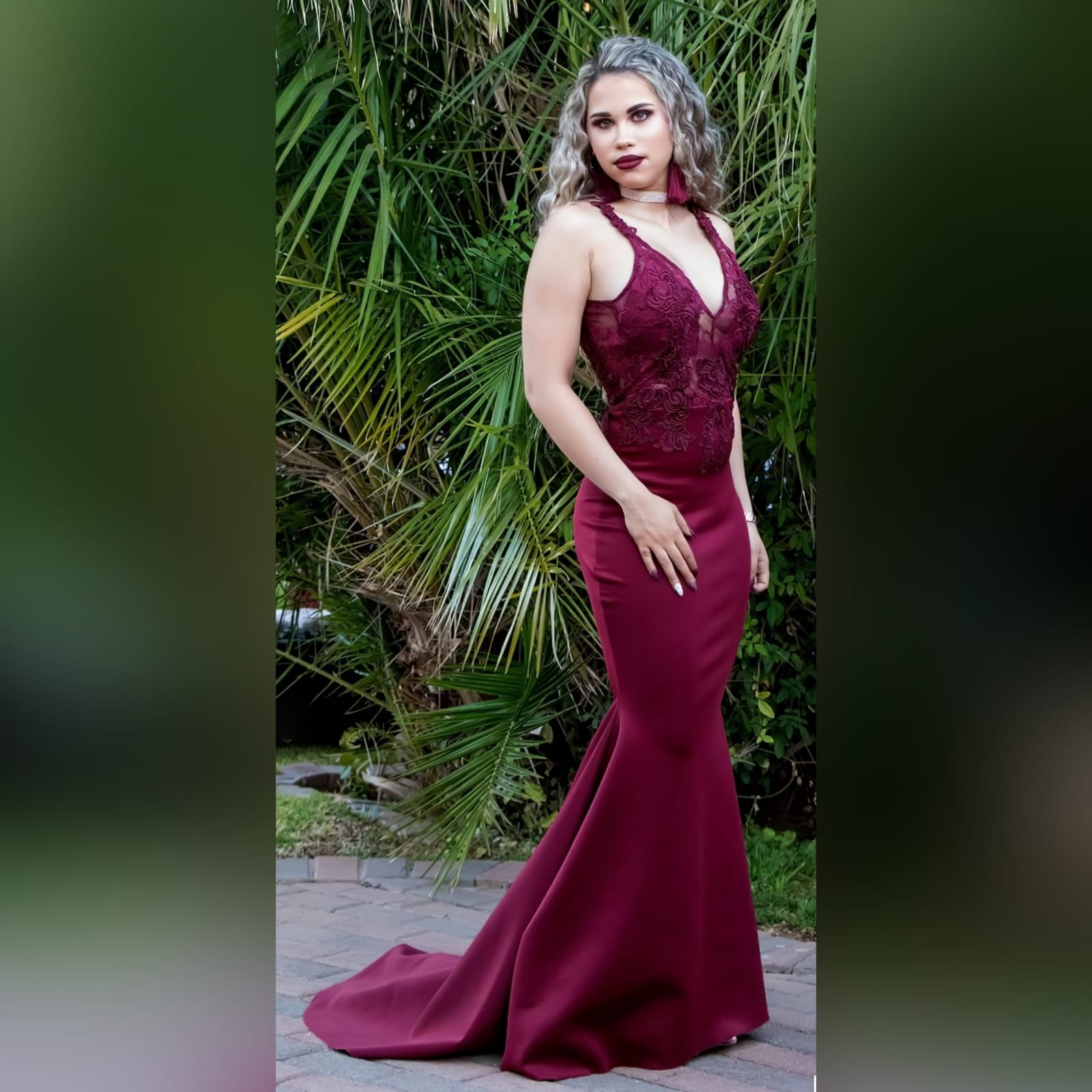 Burgundy soft mermaid sexy elegant prom dress 3 burgundy soft mermaid sexy elegant prom dress. With an illusion lace bodice with deep v neckline, low open v back with strap detail, with a train