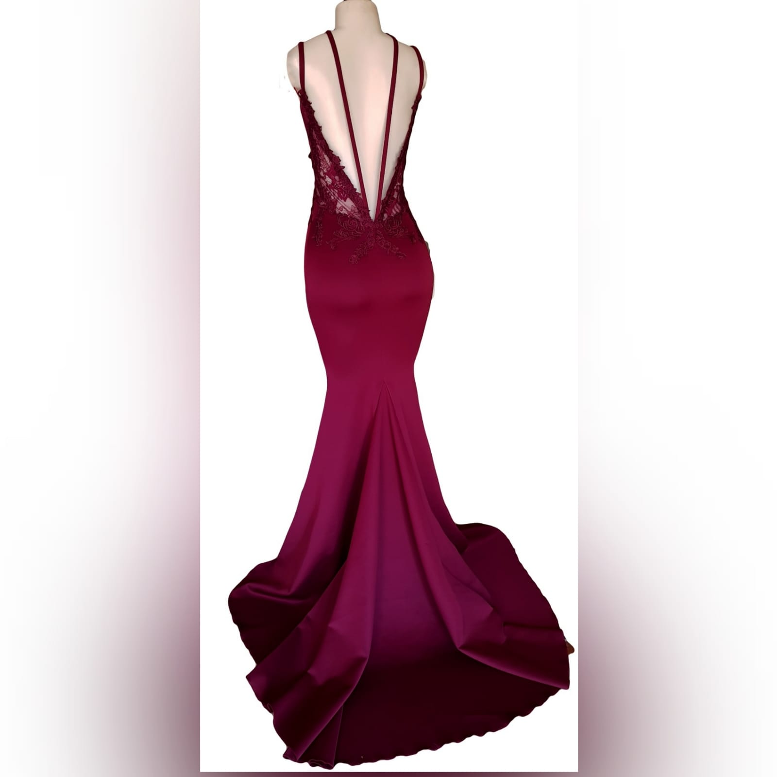 Burgundy soft mermaid sexy elegant prom dress 4 burgundy soft mermaid sexy elegant prom dress. With an illusion lace bodice with deep v neckline, low open v back with strap detail, with a train