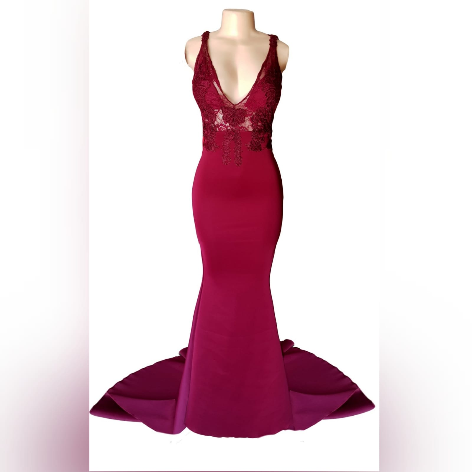 Burgundy soft mermaid sexy elegant prom dress 5 burgundy soft mermaid sexy elegant prom dress. With an illusion lace bodice with deep v neckline, low open v back with strap detail, with a train