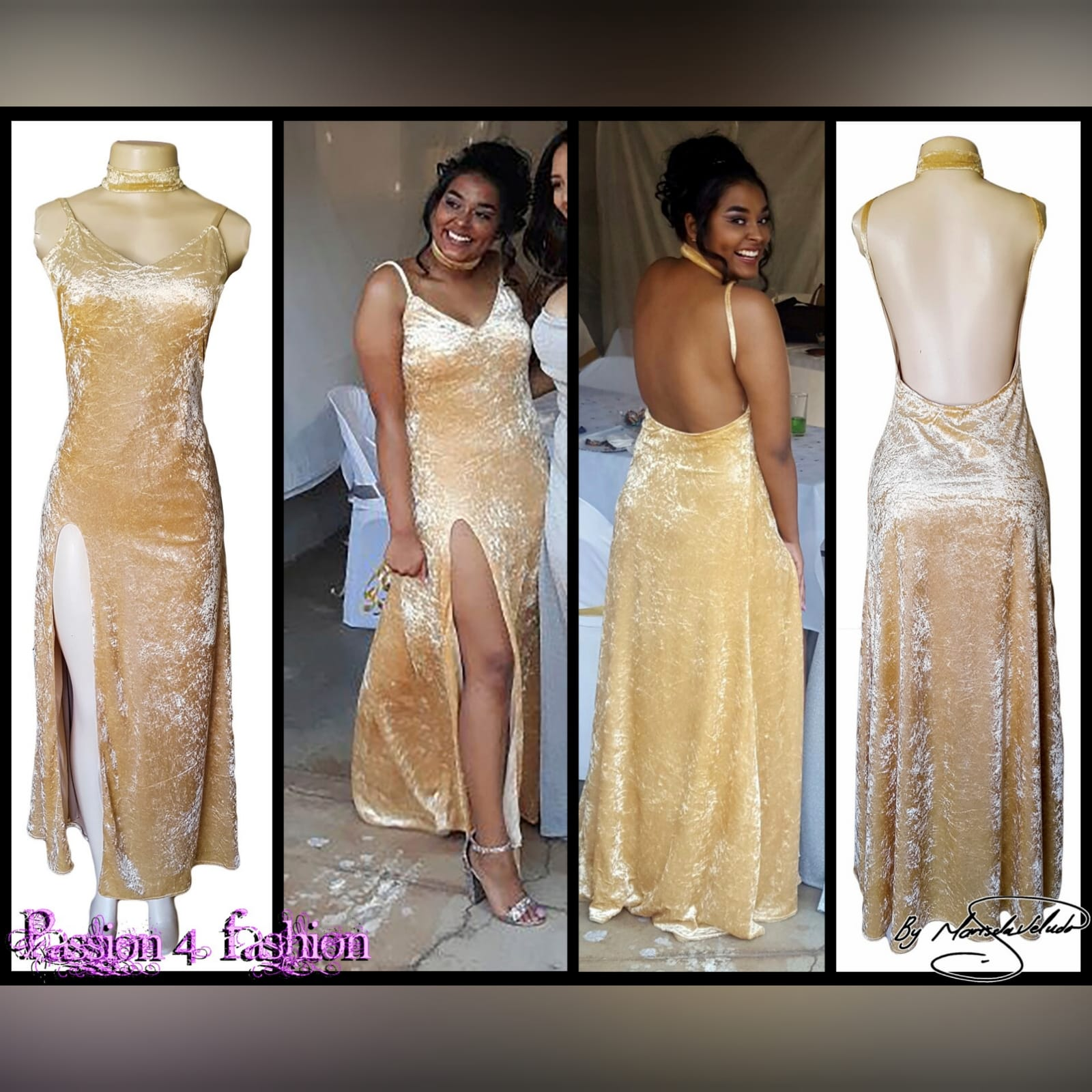 Champagne velvet long prom dress 3 champagne velvet long prom dress with a v neckline, rounded backless design with a high slit and a matching choker.