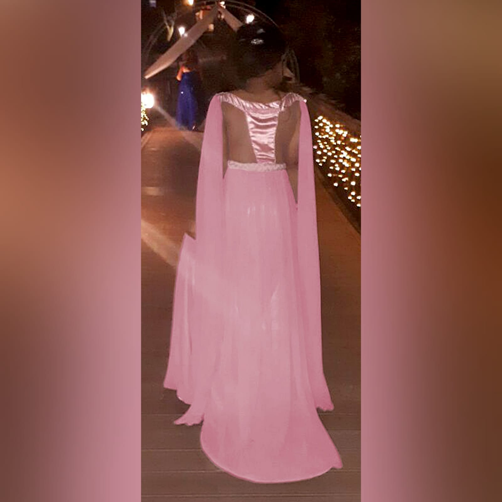 Dusty pink chiffon beaded prom dress 6 dusty pink chiffon beaded prom dress, bateau neckline effect with an illusion back, fully beaded bodice, plaited belt detail with a slit and a train. Shoulders with chiffon draping creating a goddess look.
