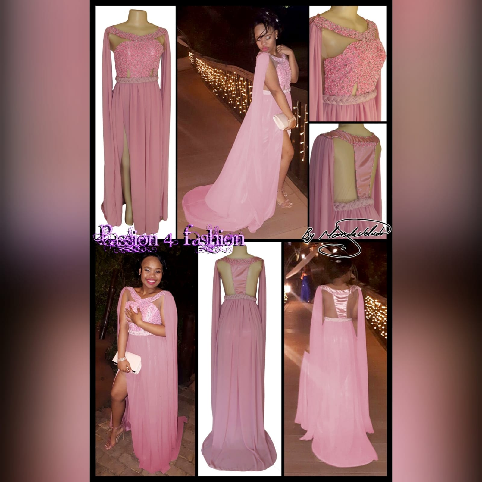 Dusty pink chiffon beaded prom dress 7 dusty pink chiffon beaded prom dress, bateau neckline effect with an illusion back, fully beaded bodice, plaited belt detail with a slit and a train. Shoulders with chiffon draping creating a goddess look.