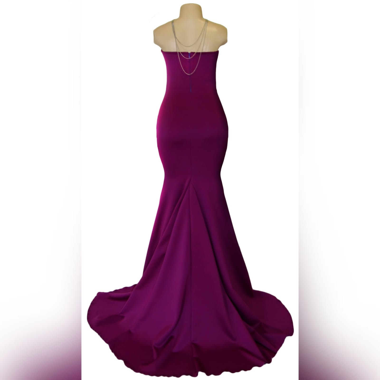 Fuschia soft mermaid tube evening dress 2 fuschia soft mermaid tube evening dress.   with a sweetheart neckline, straight back and a train. Excludes accessory.
