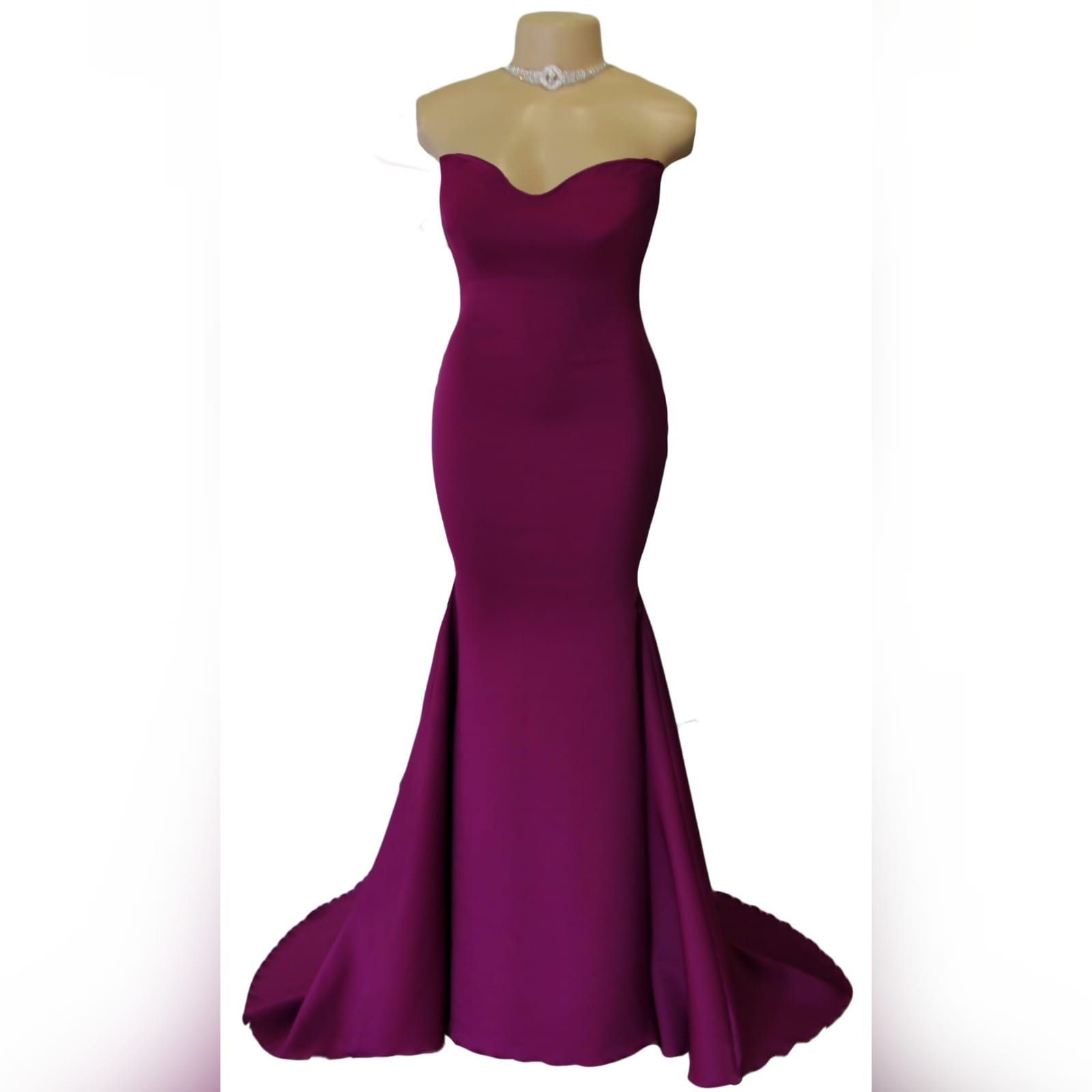 Fuschia soft mermaid tube evening dress 1 fuschia soft mermaid tube evening dress.   with a sweetheart neckline, straight back and a train. Excludes accessory.