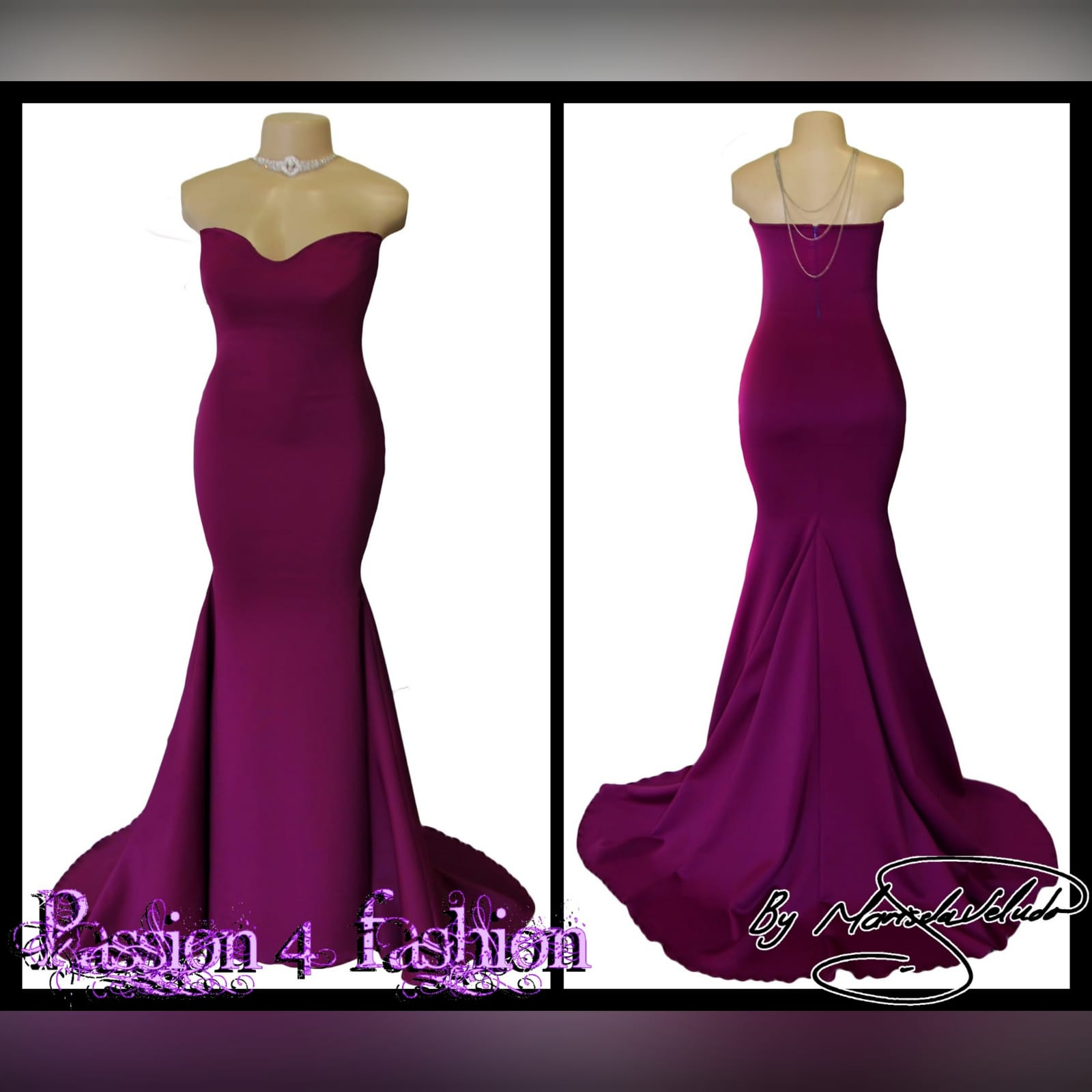 Fuschia soft mermaid tube evening dress 3 fuschia soft mermaid tube evening dress.   with a sweetheart neckline, straight back and a train. Excludes accessory.