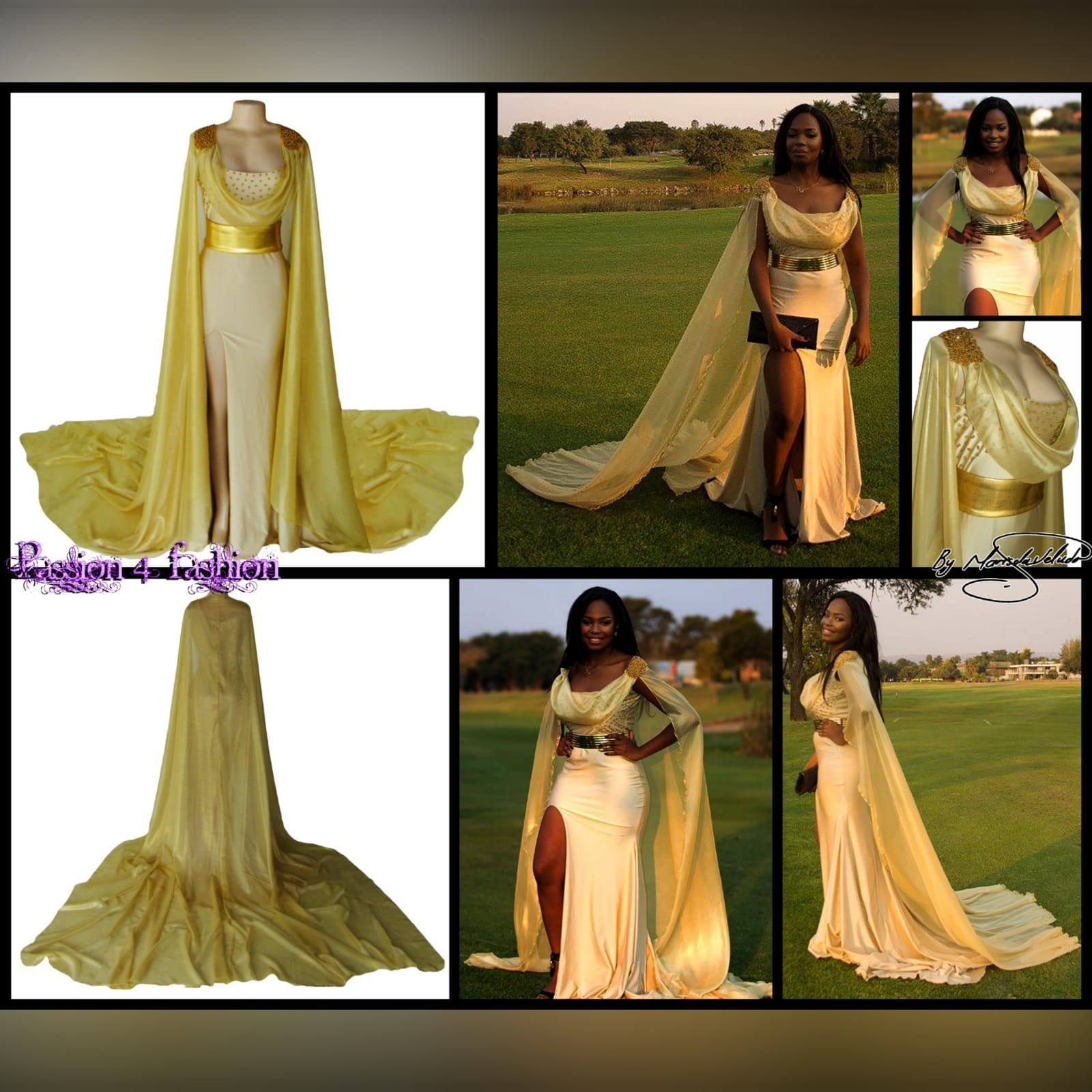 Gold long goddess inspired prom dress 3 gold long goddess inspired prom dress. Long fitted dress with a high slit and a train. With bust detailed with gold beads and a chiffon cowl neck, with a dramatic chiffon cape beaded on the shoulders. With a long train.