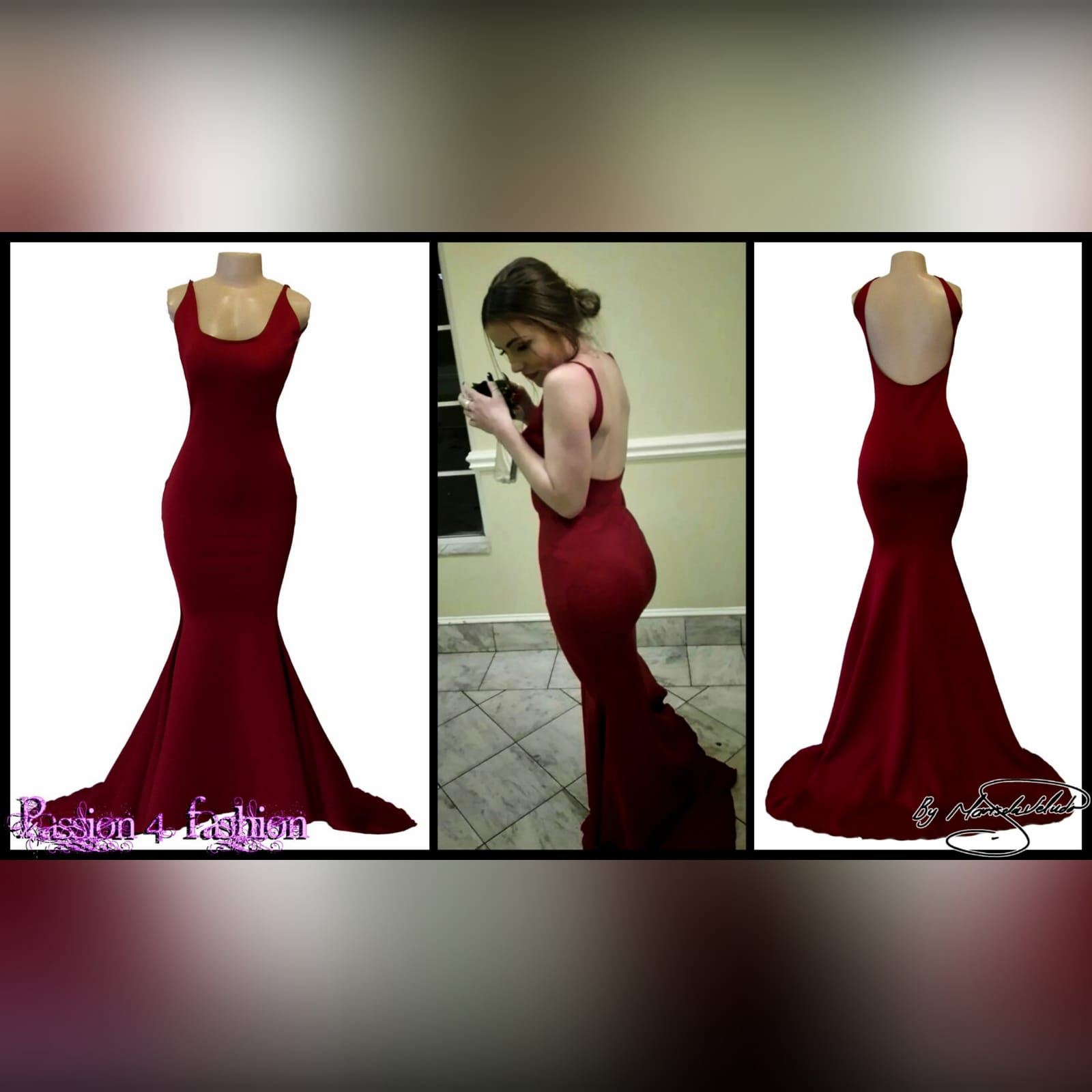 Maroon simple soft mermaid prom dress 2 maroon simple soft mermaid prom dress with a squared neckline, low rounded open back and a little train.