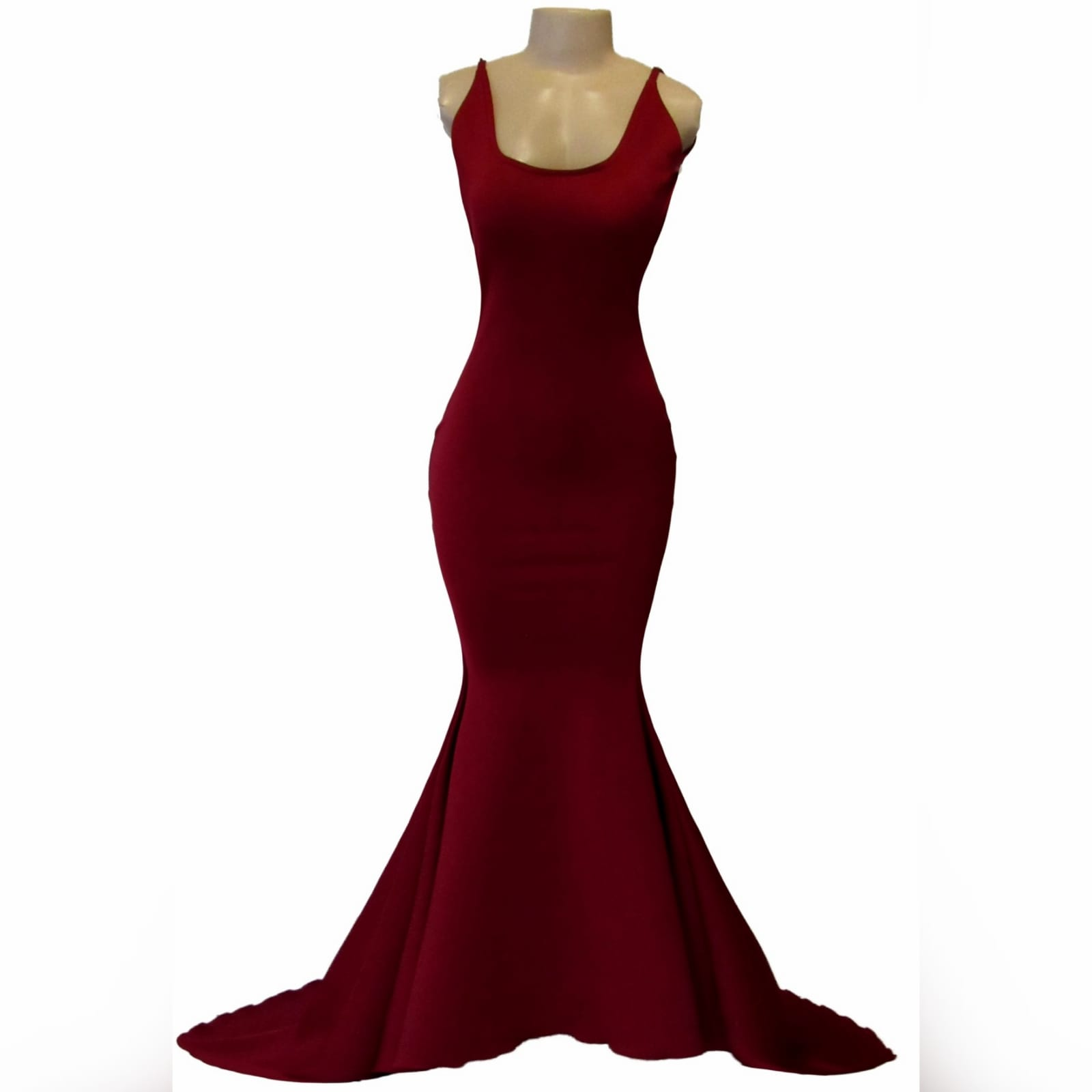 Maroon simple soft mermaid prom dress 3 maroon simple soft mermaid prom dress with a squared neckline, low rounded open back and a little train.