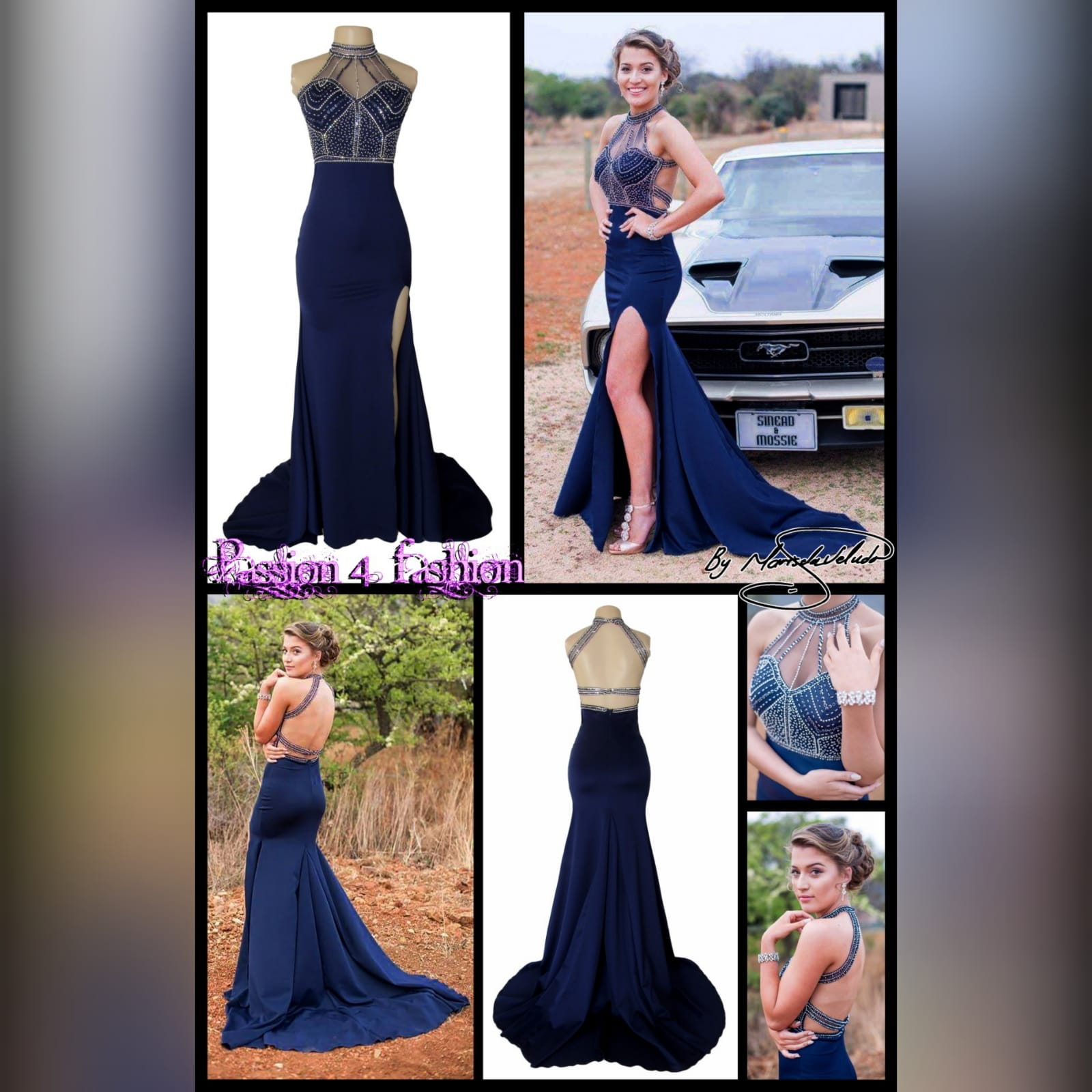 Navy blue silver beaded prom dress 5 navy blue silver beaded prom dress with an illusion neckline and a choker effect. Backless design detailed with beaded straps. Fitted bottom with a slit and a train.