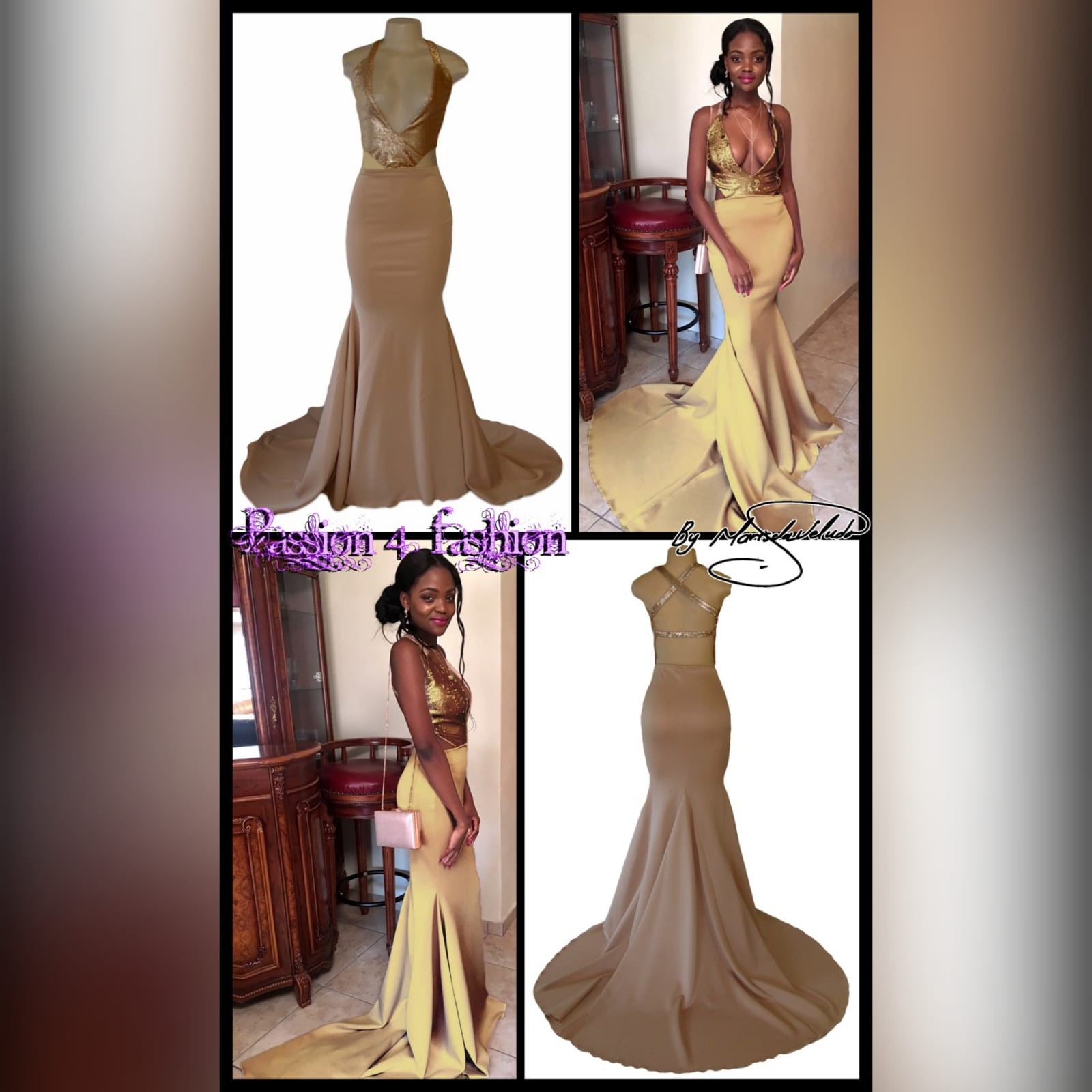 Nude and gold soft mermaid prom dress 5 nude and gold soft mermaid prom dress. Bodice in sequins with a plunging neckline and a naked back detailed with straps. Bottom with a long wide train.