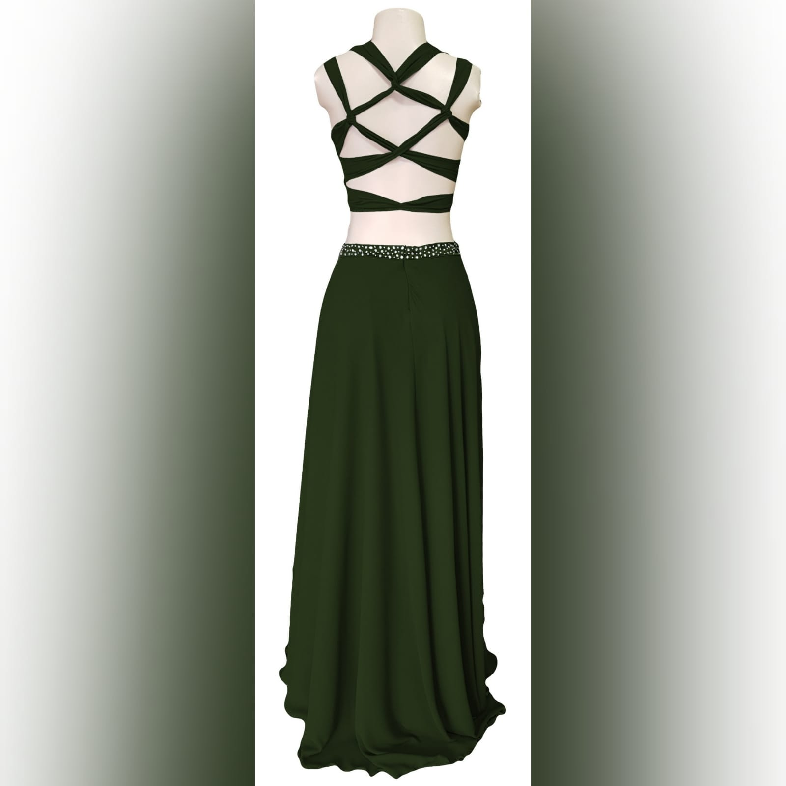 Olive green 2 piece prom dress 4 olive green 2 piece prom dress. Flowy long chiffon shirt with a little train and waistband detailed with silver beads. Pleated crop top with a rounded deep neckline , backless design with strap detail.