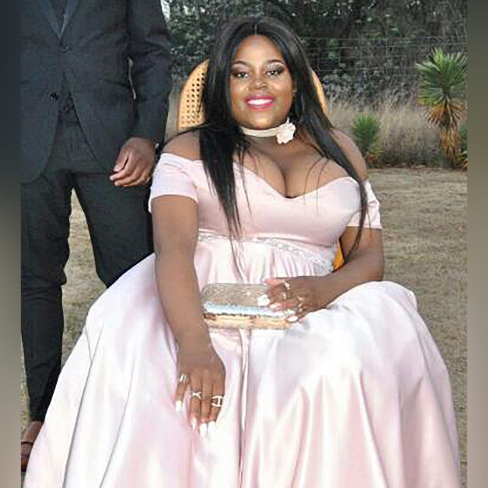 Pale pink satin plus size ceremony dress 1 pale pink satin plus size ceremony dress. Off shoulder, with a sweetheart neckline and off shoulder short sleeves. With a beaded waistline belt effect.