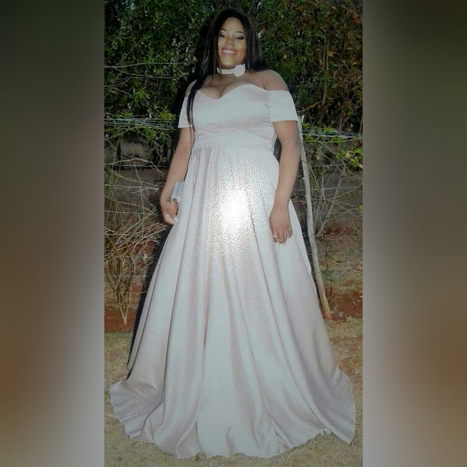 Pale pink satin plus size ceremony dress 5 pale pink satin plus size ceremony dress. Off shoulder, with a sweetheart neckline and off shoulder short sleeves. With a beaded waistline belt effect.