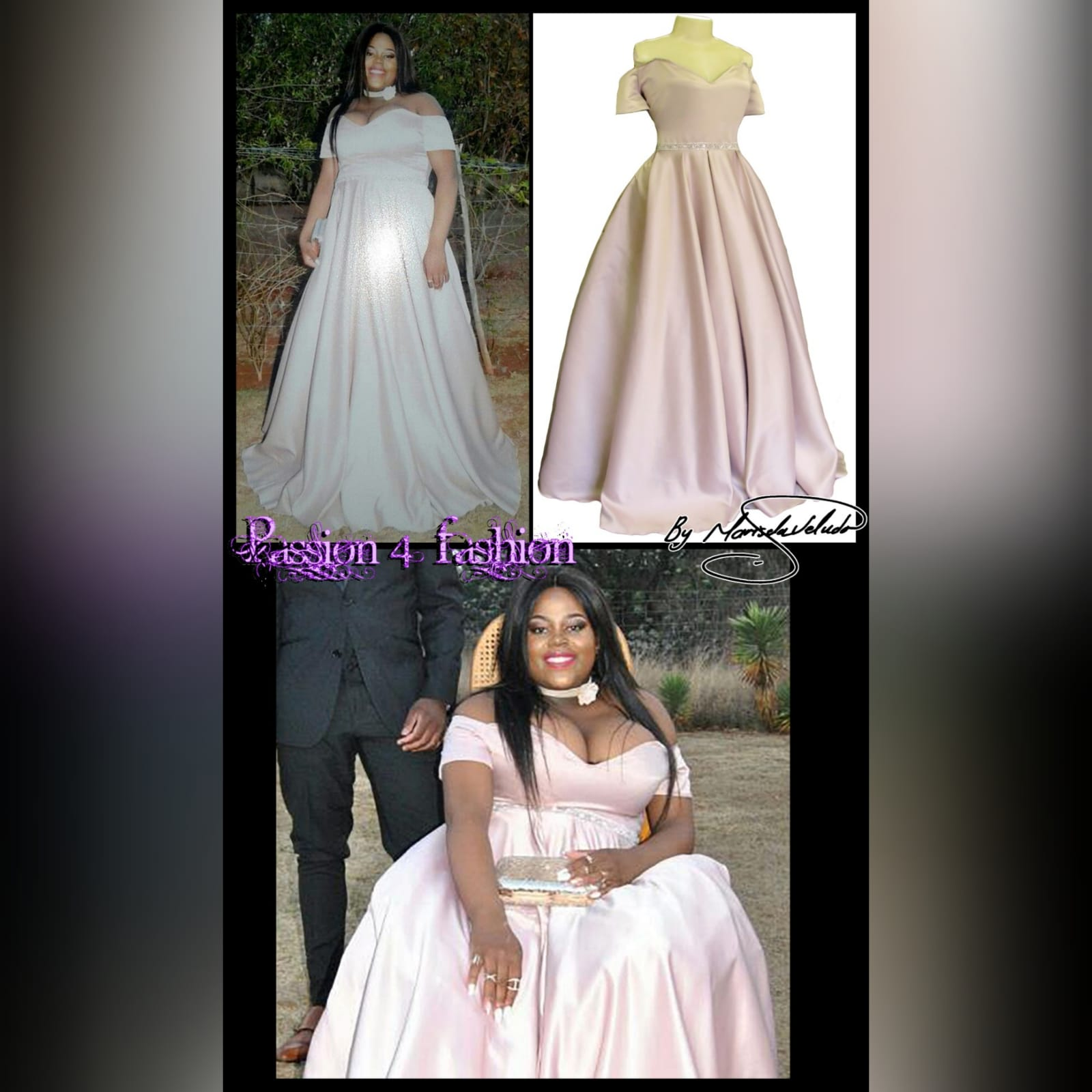Pale pink satin plus size ceremony dress 4 pale pink satin plus size ceremony dress. Off shoulder, with a sweetheart neckline and off shoulder short sleeves. With a beaded waistline belt effect.