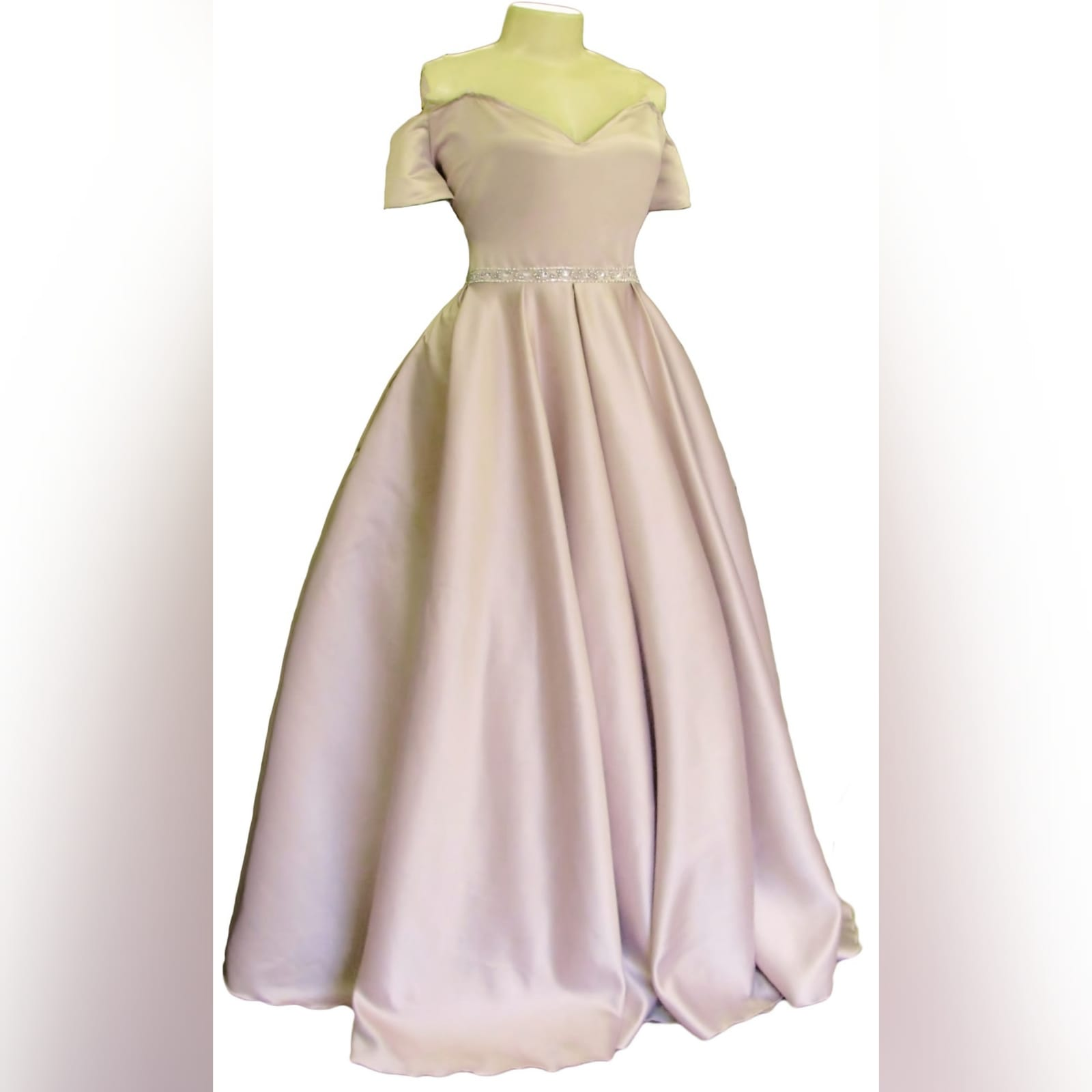 Pale pink satin plus size ceremony dress 3 pale pink satin plus size ceremony dress. Off shoulder, with a sweetheart neckline and off shoulder short sleeves. With a beaded waistline belt effect.