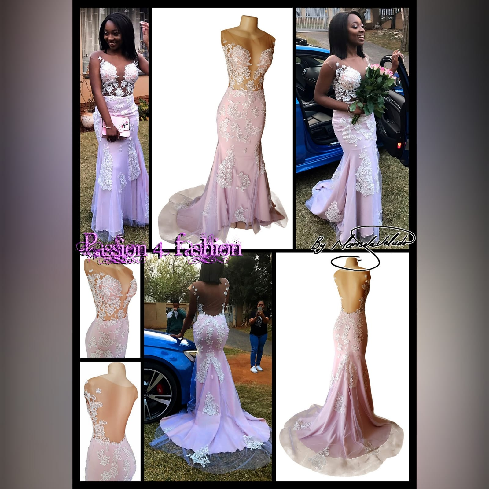 Pink and white lace soft mermaid prom dress 5 pink and white lace soft mermaid prom dress with an illusion bodice detailed with lace, an illusion open back. Bottom with an overlayer of tulle detailed with lace and a train.