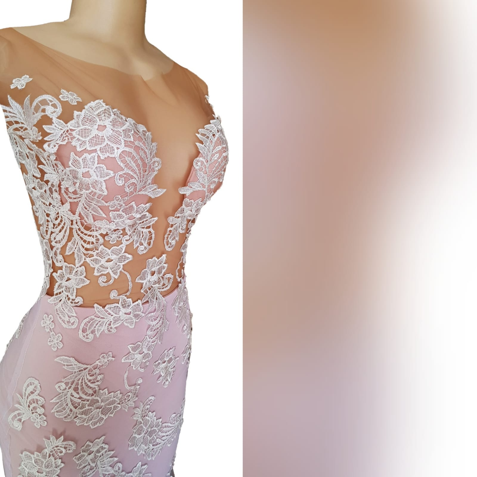 Pink and white lace soft mermaid prom dress 7 pink and white lace soft mermaid prom dress with an illusion bodice detailed with lace, an illusion open back. Bottom with an overlayer of tulle detailed with lace and a train.