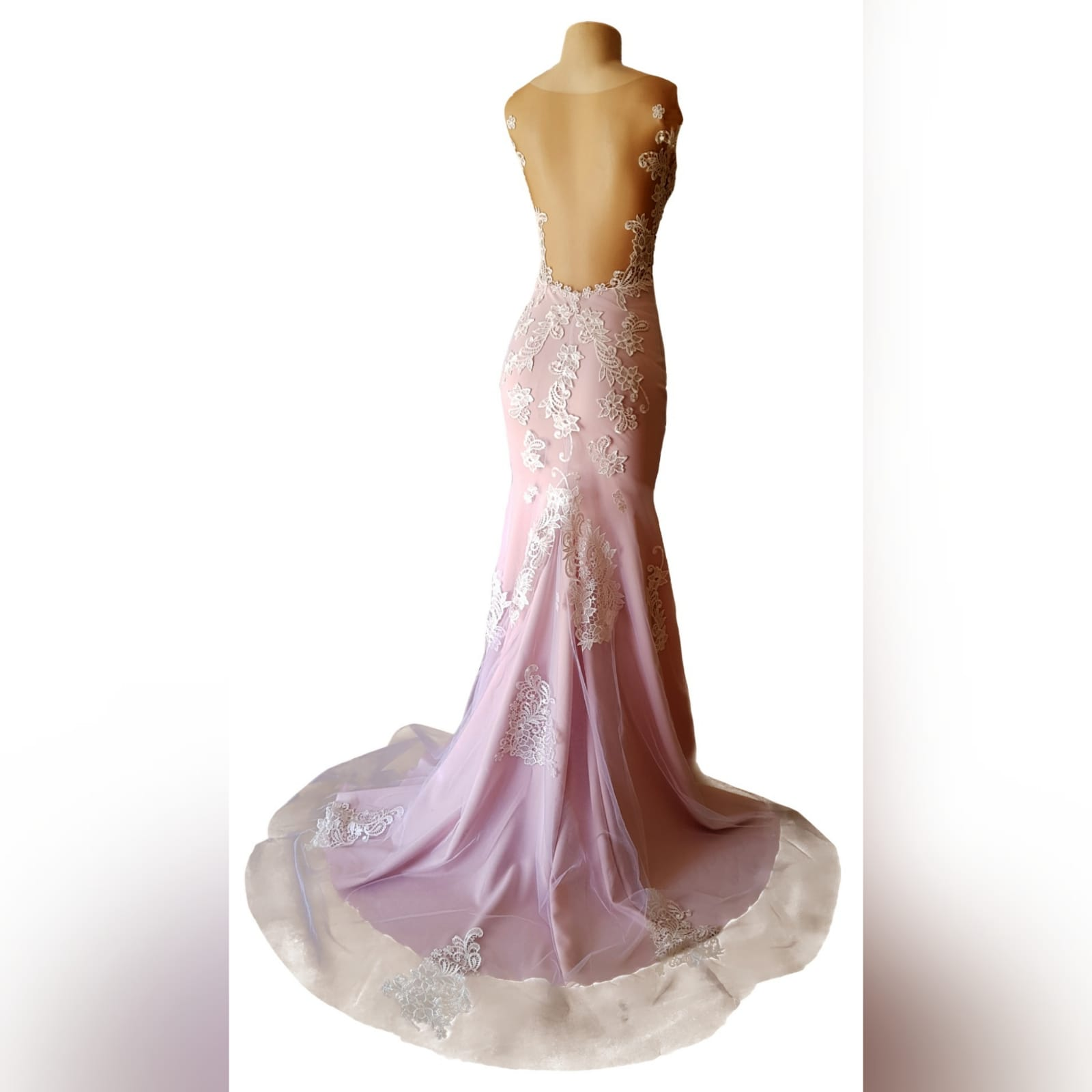 Pink and white lace soft mermaid prom dress 8 pink and white lace soft mermaid prom dress with an illusion bodice detailed with lace, an illusion open back. Bottom with an overlayer of tulle detailed with lace and a train.