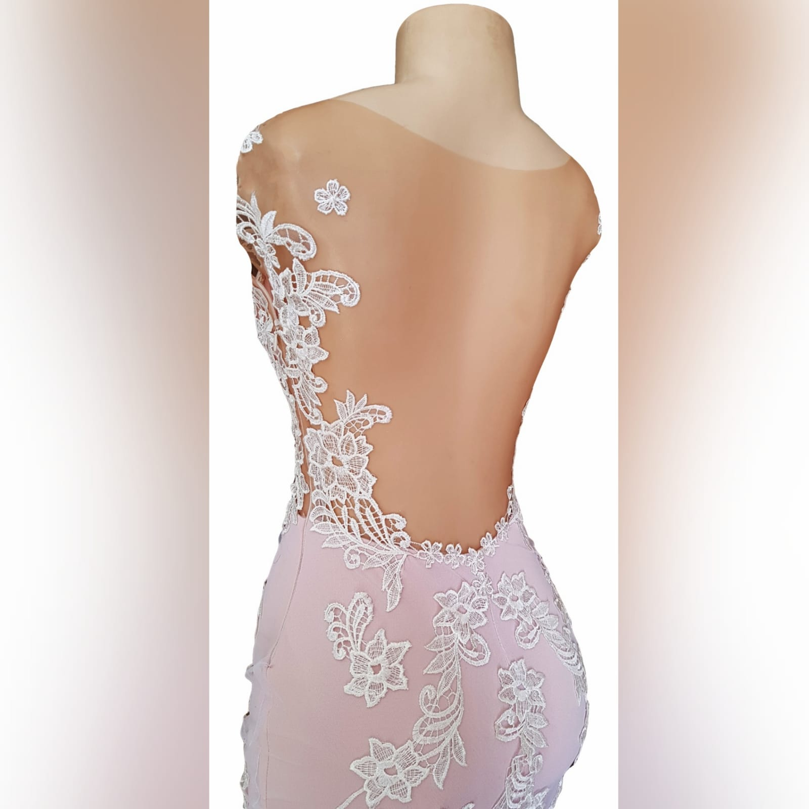 Pink and white lace soft mermaid prom dress 9 pink and white lace soft mermaid prom dress with an illusion bodice detailed with lace, an illusion open back. Bottom with an overlayer of tulle detailed with lace and a train.