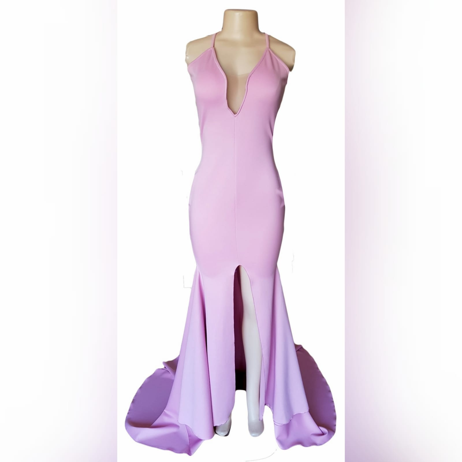 Pink simple long sexy prom dress 2 pink simple long sexy prom dress with an illusion plunging neckline, thin shoulder straps, middle high slit and a train.