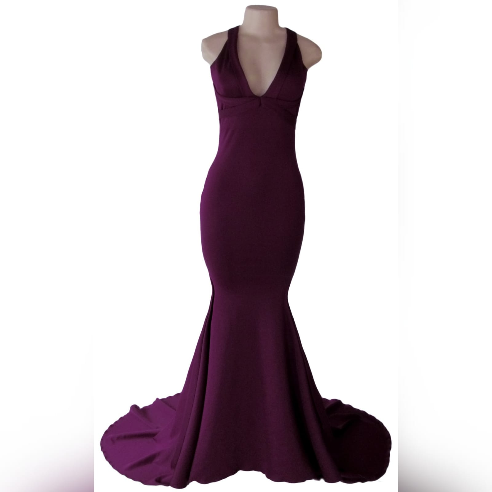 Plum soft mermaid sexy prom dress 5 plum soft mermaid sexy prom dress. With a plunging neckline, naked back with strap details and long train.