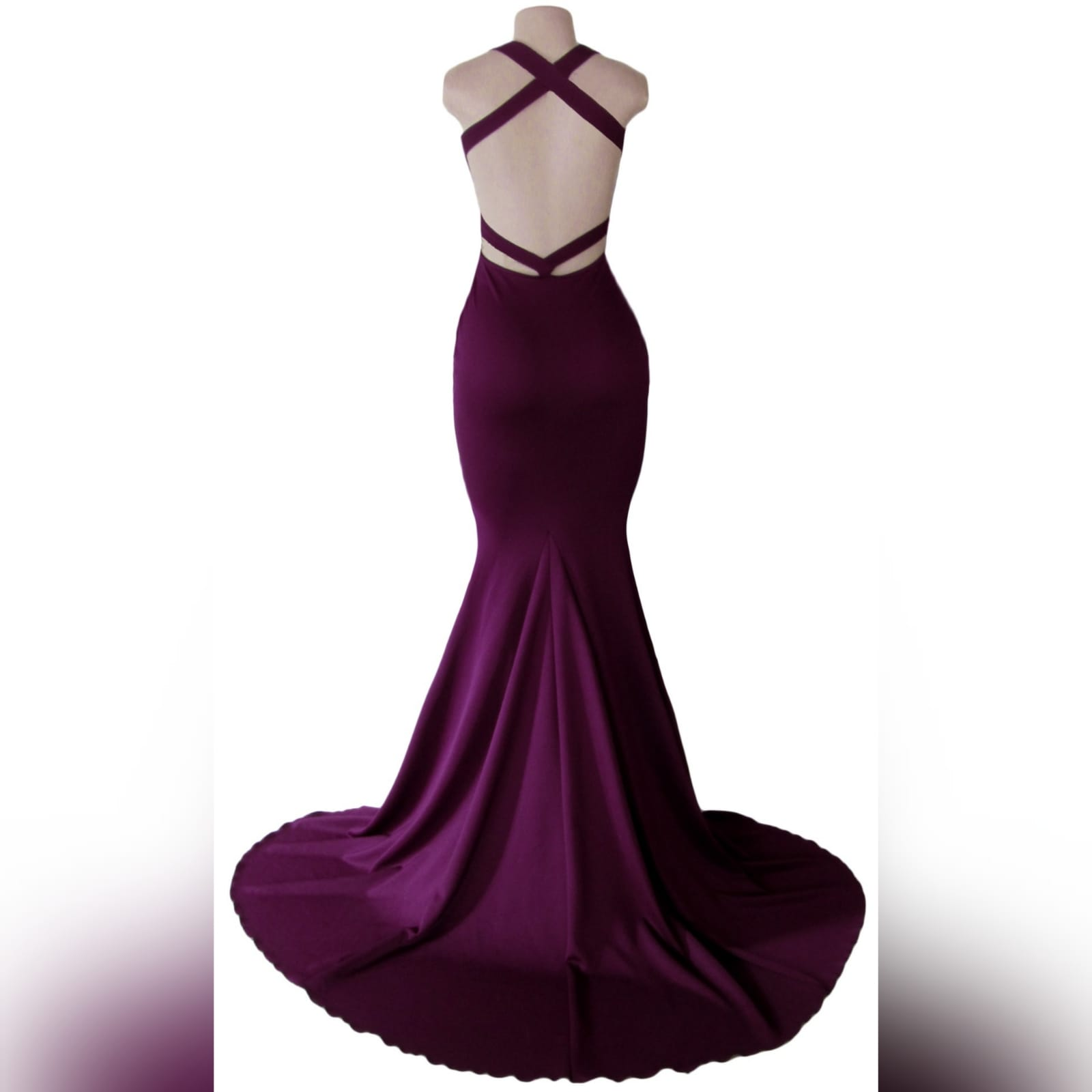 Plum soft mermaid sexy prom dress 7 plum soft mermaid sexy prom dress. With a plunging neckline, naked back with strap details and long train.