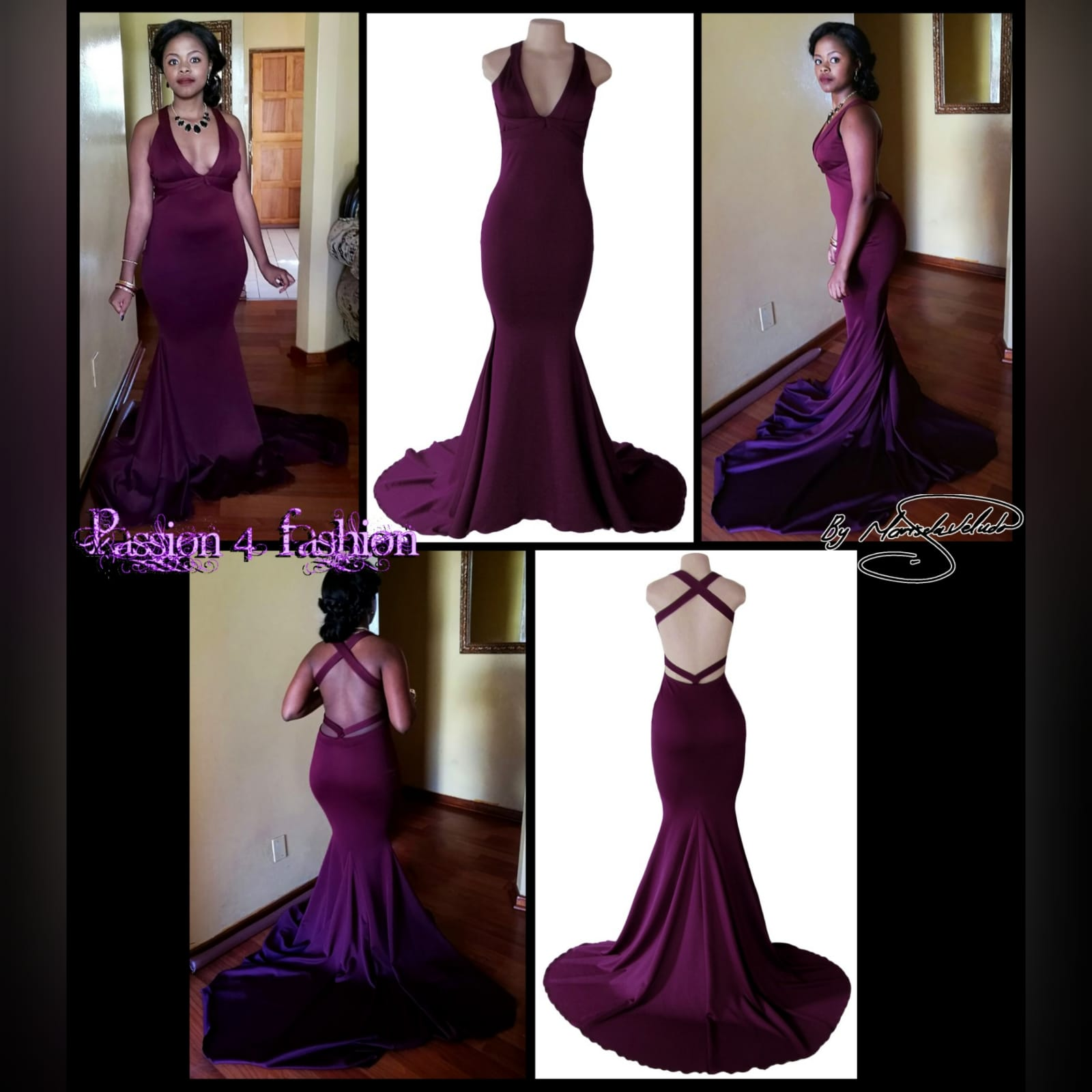 Plum soft mermaid sexy prom dress 3 plum soft mermaid sexy prom dress. With a plunging neckline, naked back with strap details and long train.