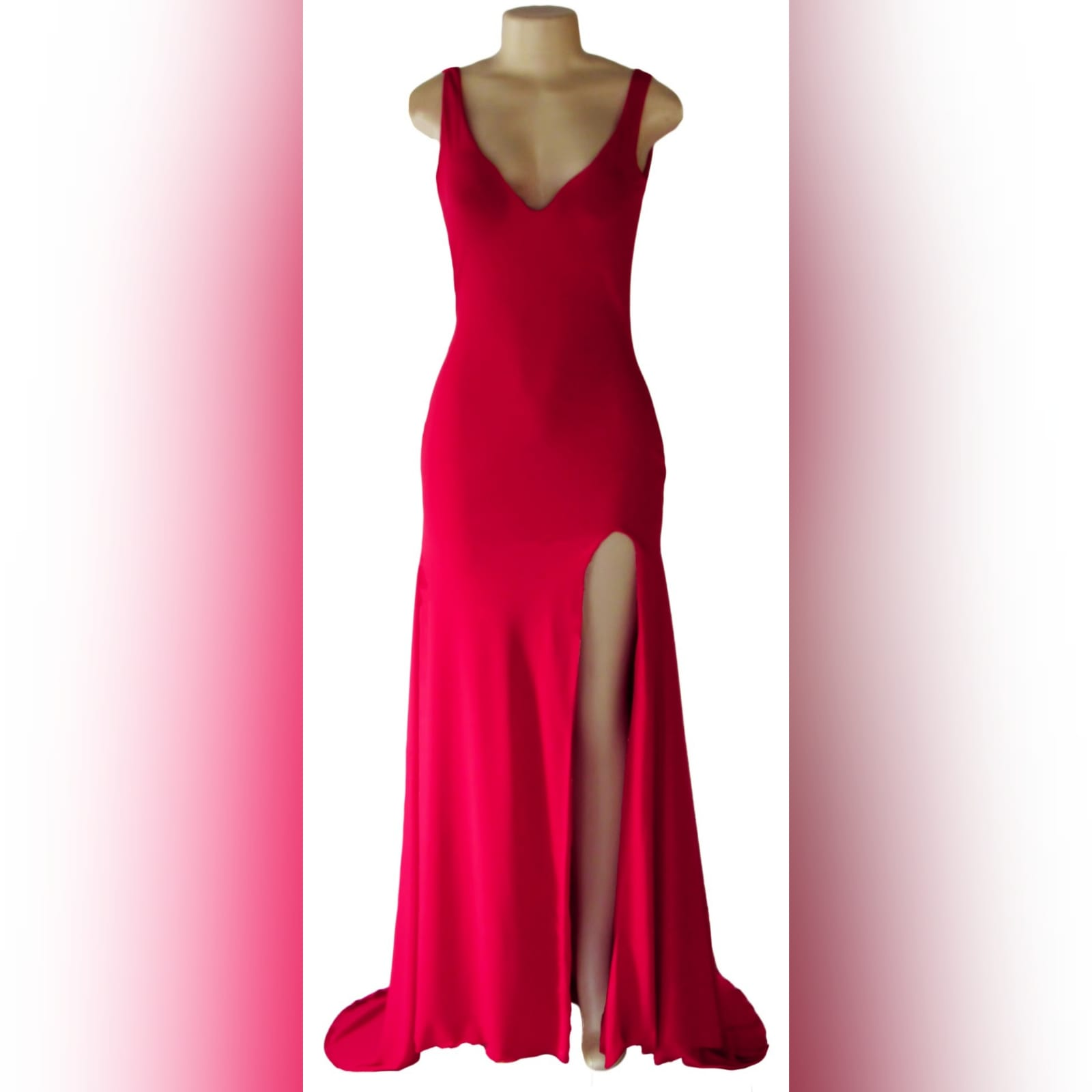 Red long sexy fitted prom dress 5 red long sexy fitted prom dress with a v neckline and v open back, with a slit and a train.
