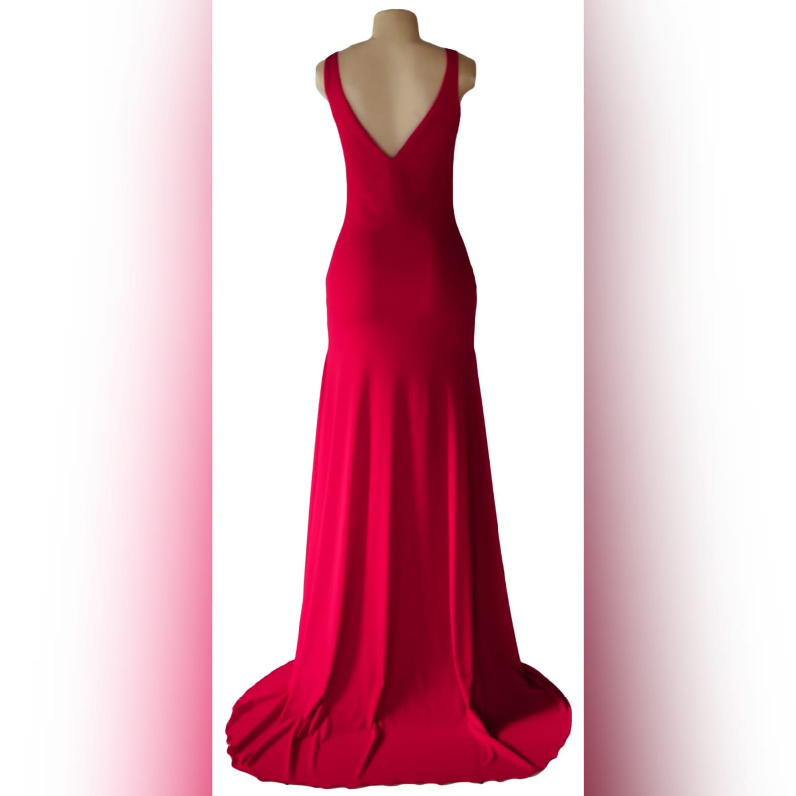 Red long sexy fitted prom dress 6 red long sexy fitted prom dress with a v neckline and v open back, with a slit and a train.