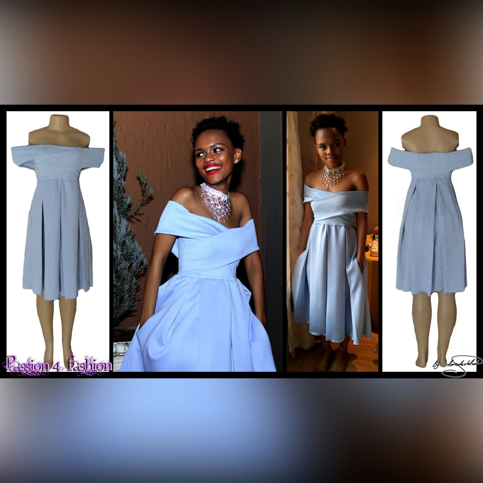 Short pale blue pleated cocktail dress 3 short pale blue pleated cocktail dress with a crossed bust design creating off shoulder short sleeves, pleated bottom with pockets.