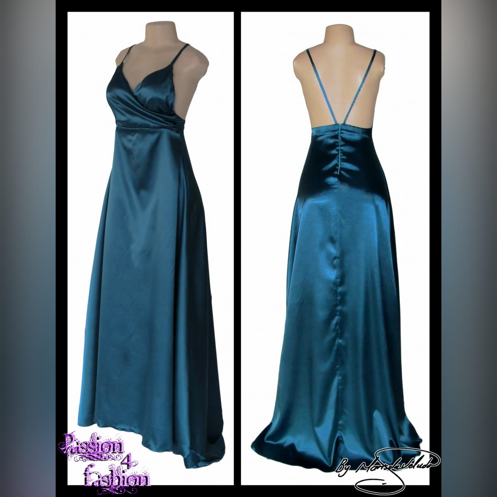 Teal long satin evening dress 4 teal long satin evening dress with a crossed bust neckline, backless design with 2 thin straps. With a small train.